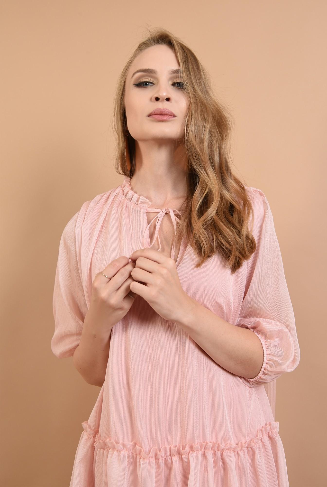 2 - 360 - rochie evazata, cu guler incretit, cu snur, roz, Poema
