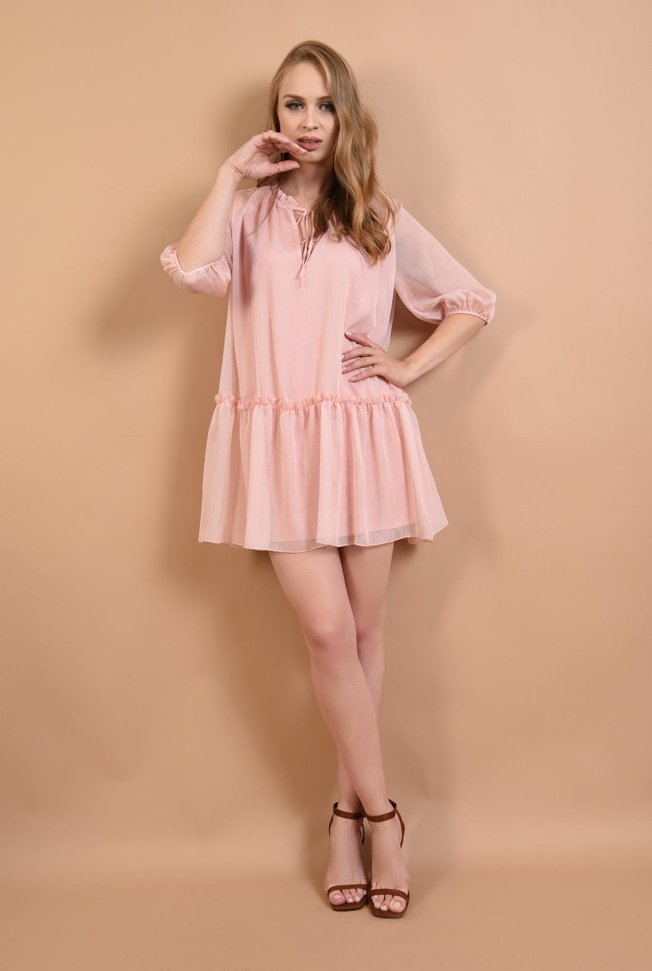 0 - 360 - rochie evazata, cu guler incretit, cu snur, roz, Poema