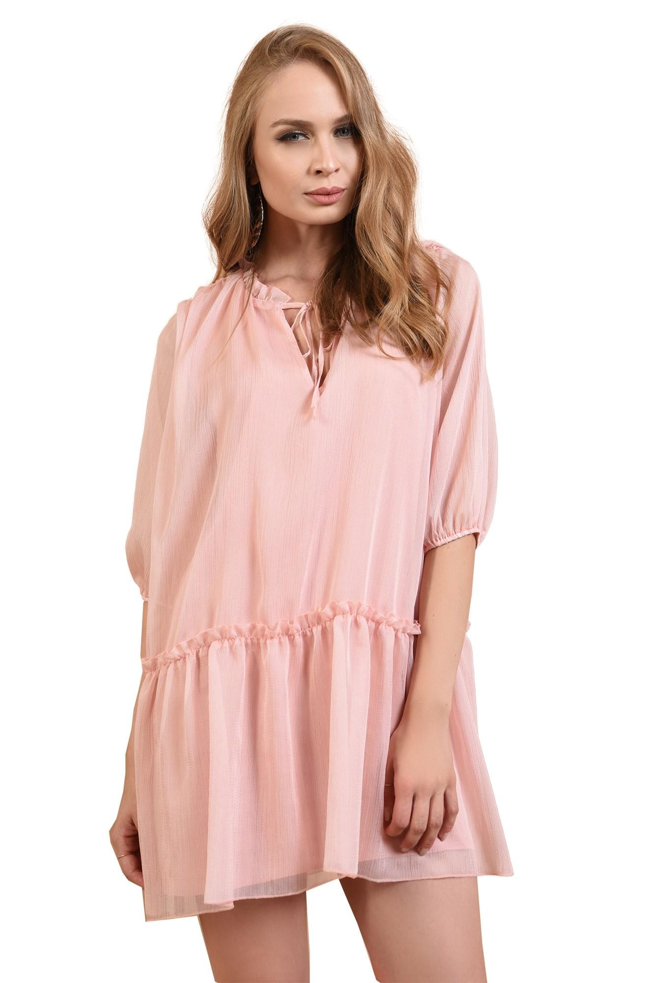 3 - 360 - rochie evazata, cu guler incretit, cu snur, roz, Poema