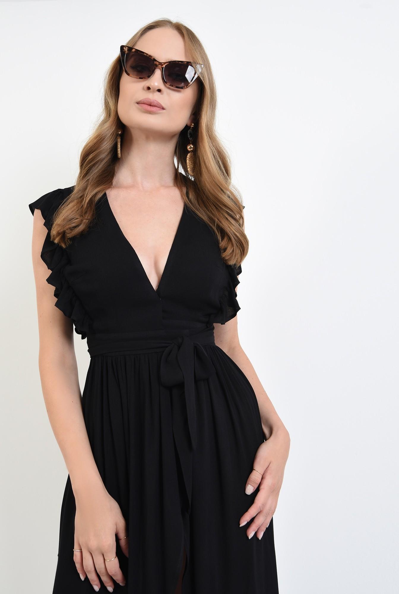 2 - 360 - rochie neagra, petrecuta, cu volan la umeri, Poema