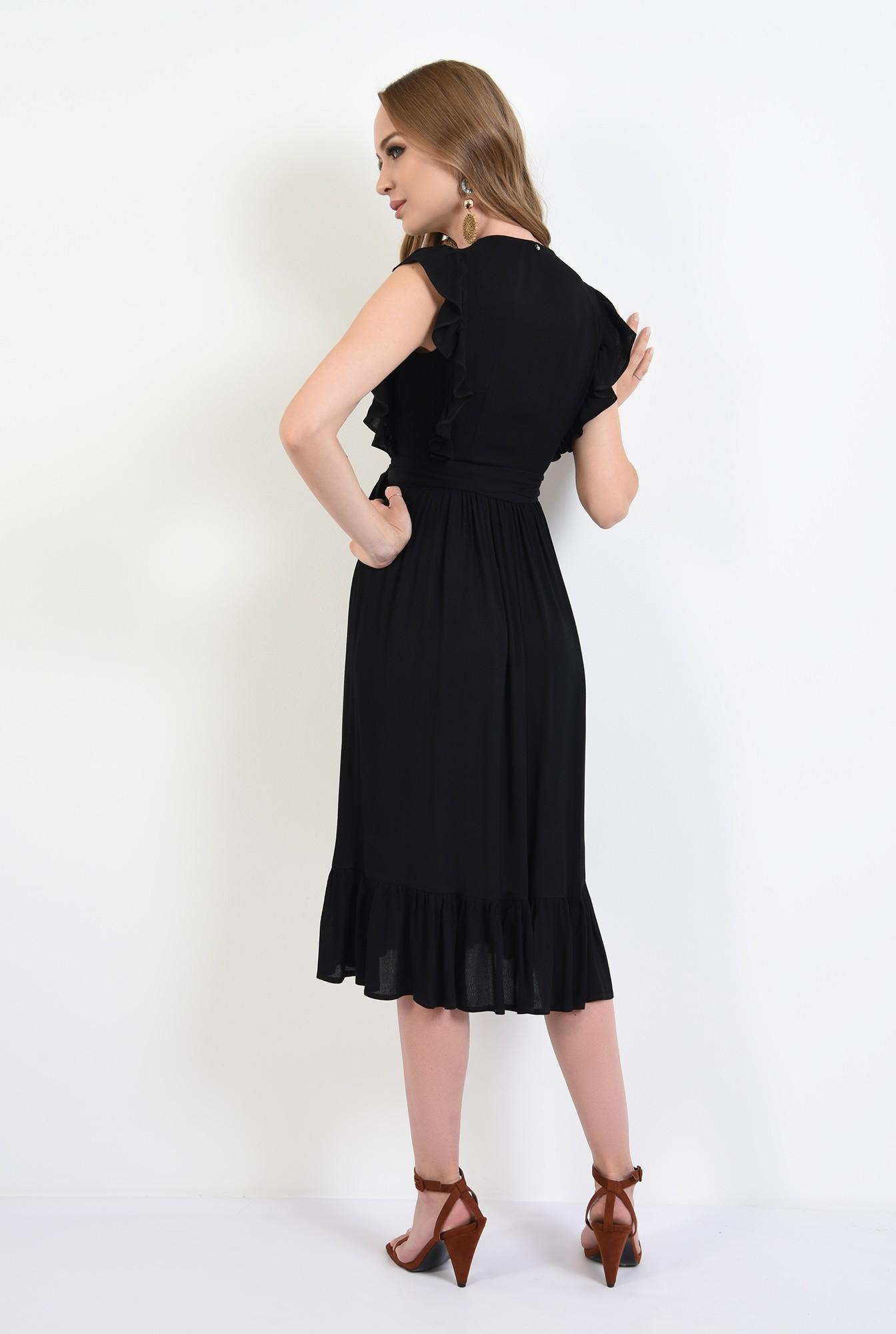 1 - 360 - rochie neagra, petrecuta, cu volan la umeri, Poema