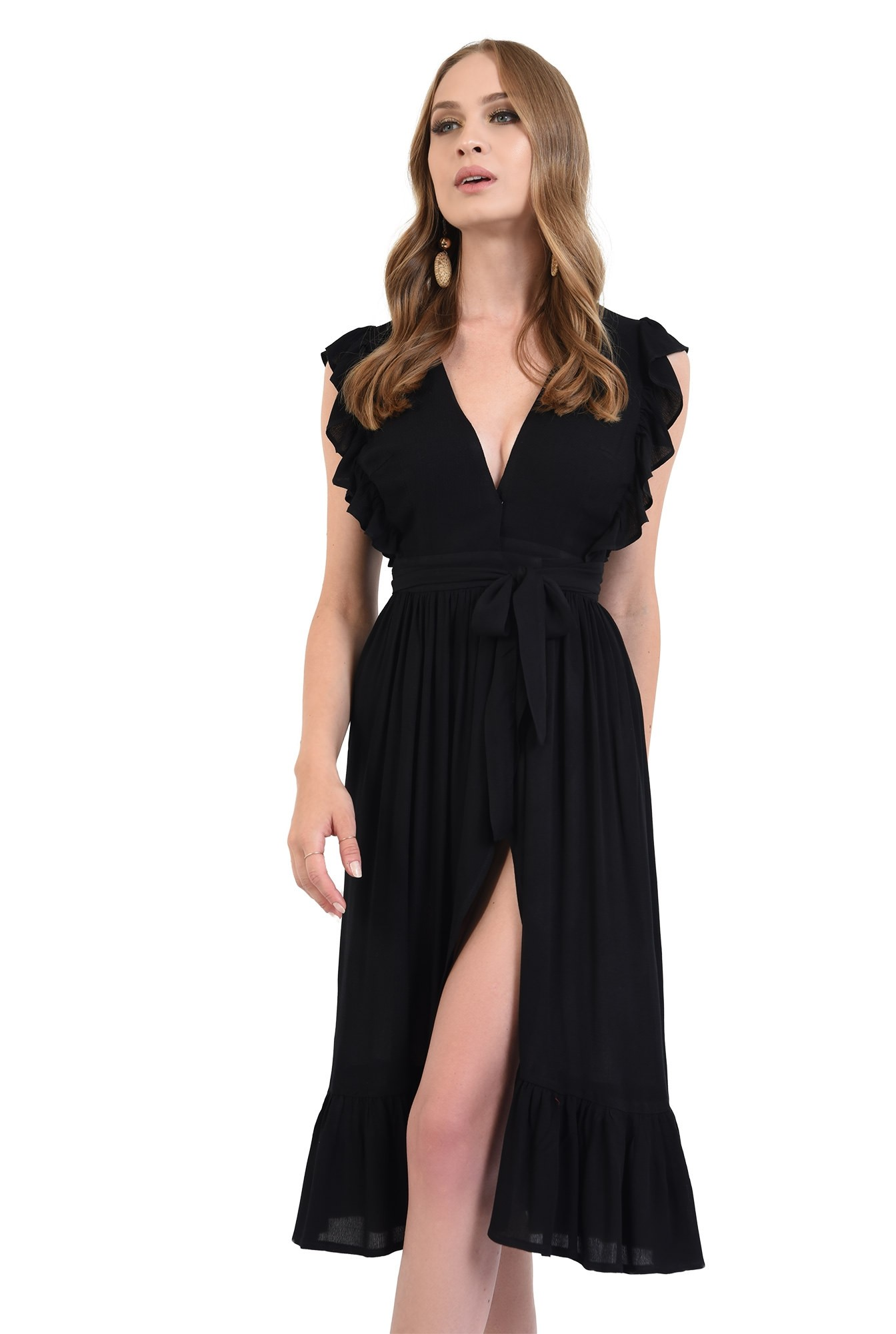 3 - 360 - rochie neagra, petrecuta, cu volan la umeri, Poema