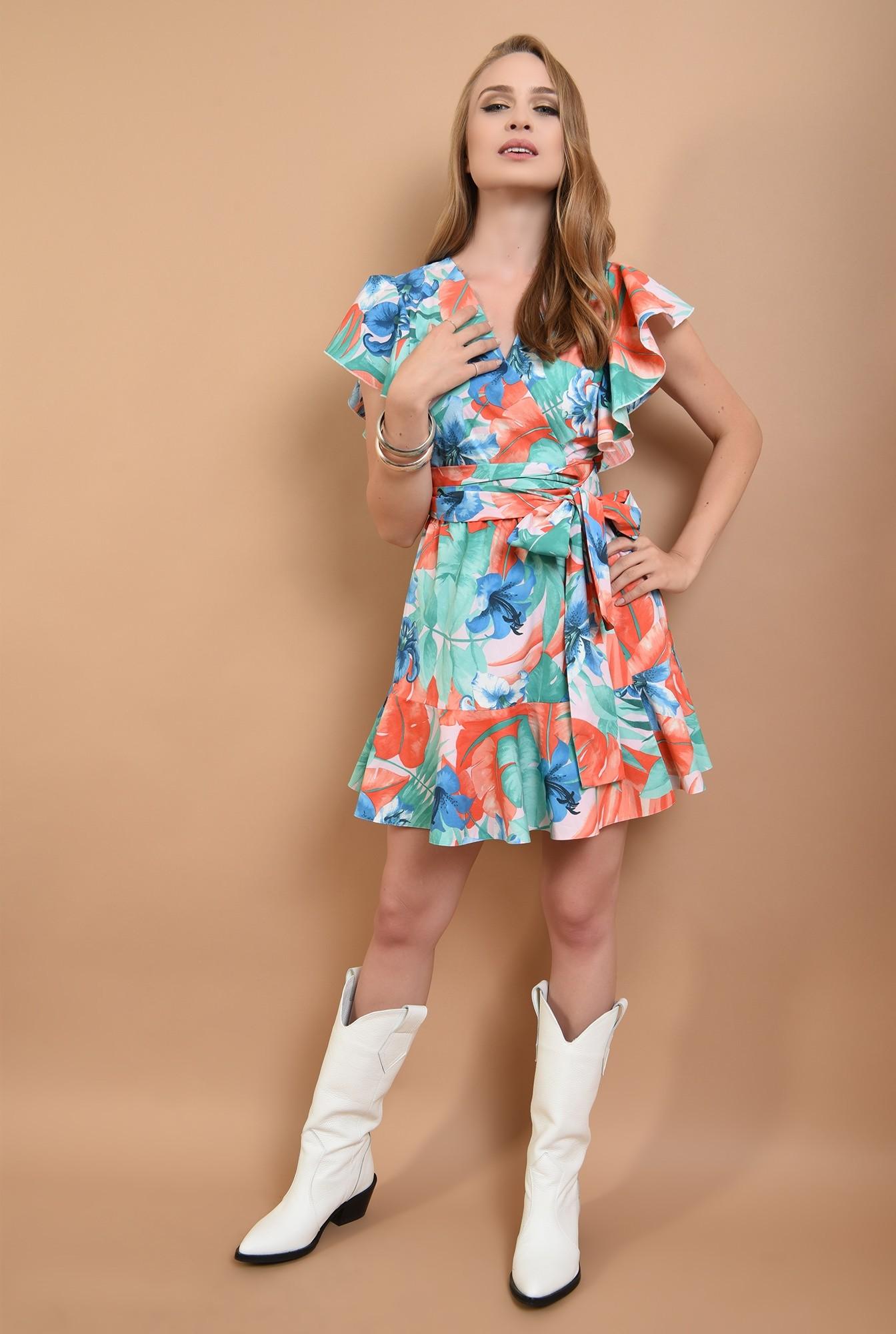 3 - 360 - rochie scurta, cu print, din bumbac, Poema