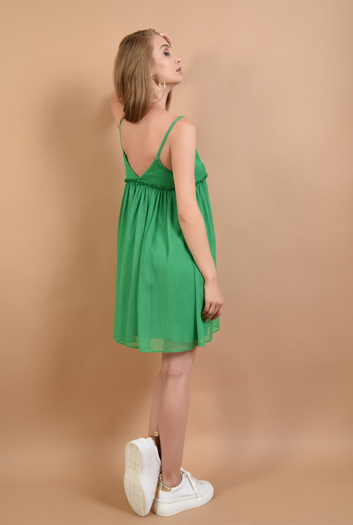 1 - 360 - rochie babydoll, verde, cu volan, Poema