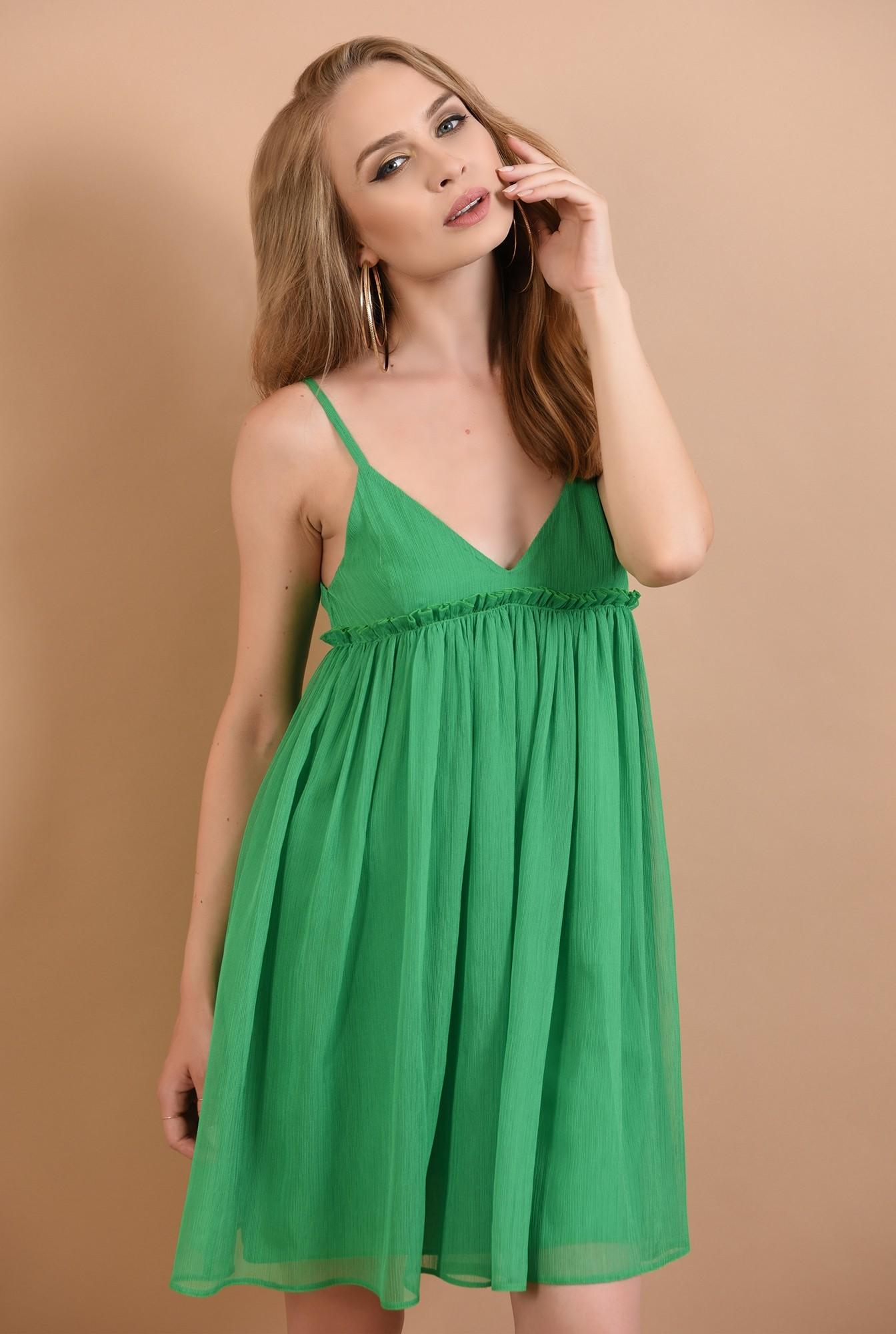0 - 360 - rochie babydoll, verde, cu volan, Poema