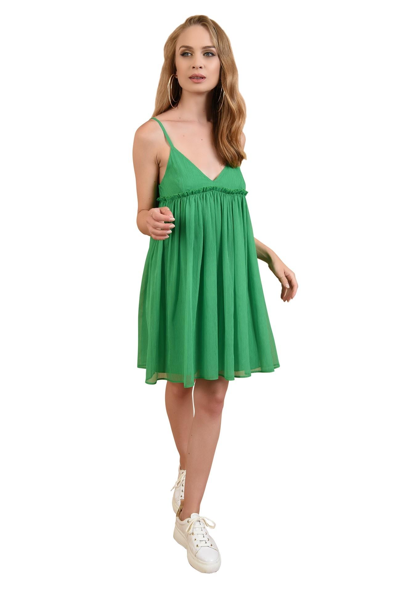 3 - 360 - rochie babydoll, verde, cu volan, Poema