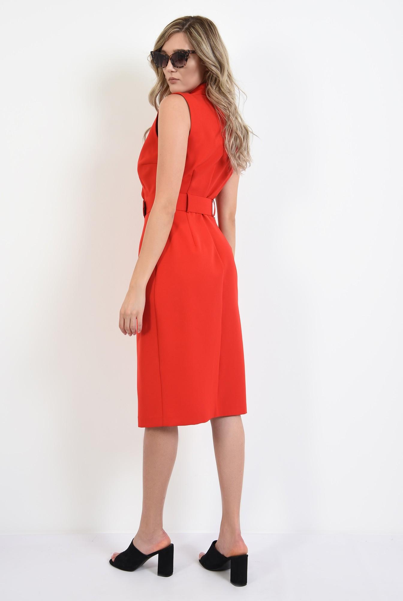1 - 360 - rochie tip sacou, rosie, cu nasturi, Poema