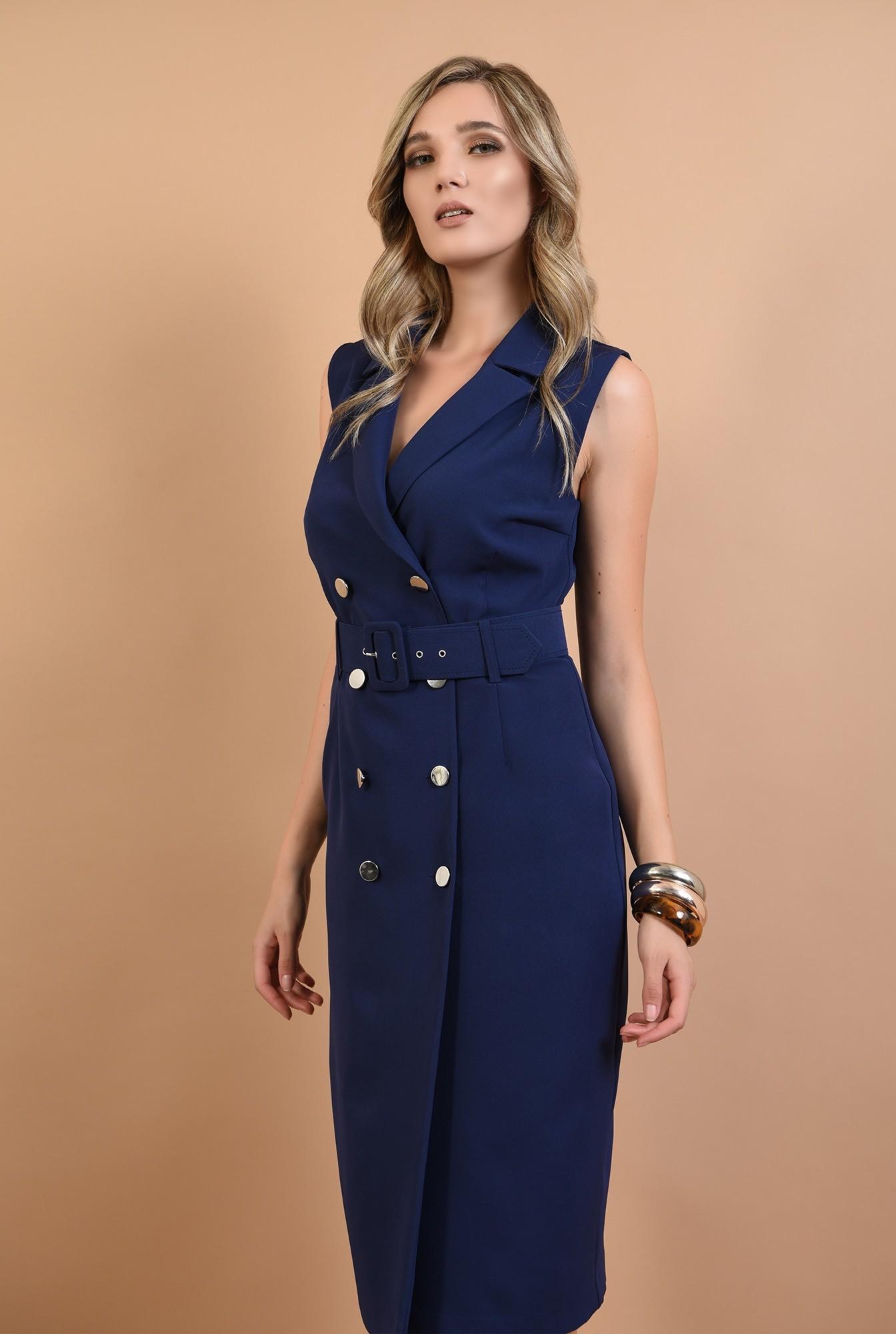 0 - 360 - rochie conica, bleumarin, cu nasturi, stil sacou, Poema