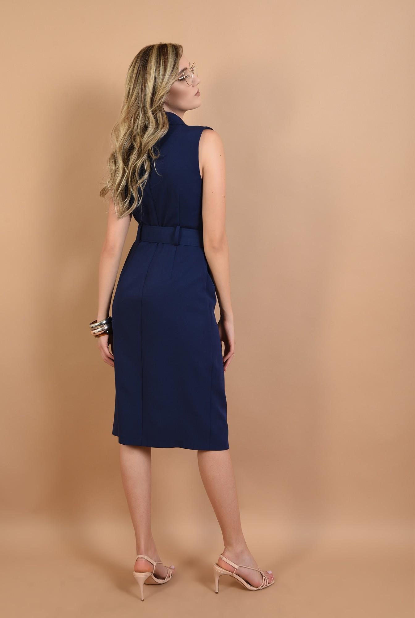 1 - 360 - rochie conica, bleumarin, cu nasturi, stil sacou, Poema