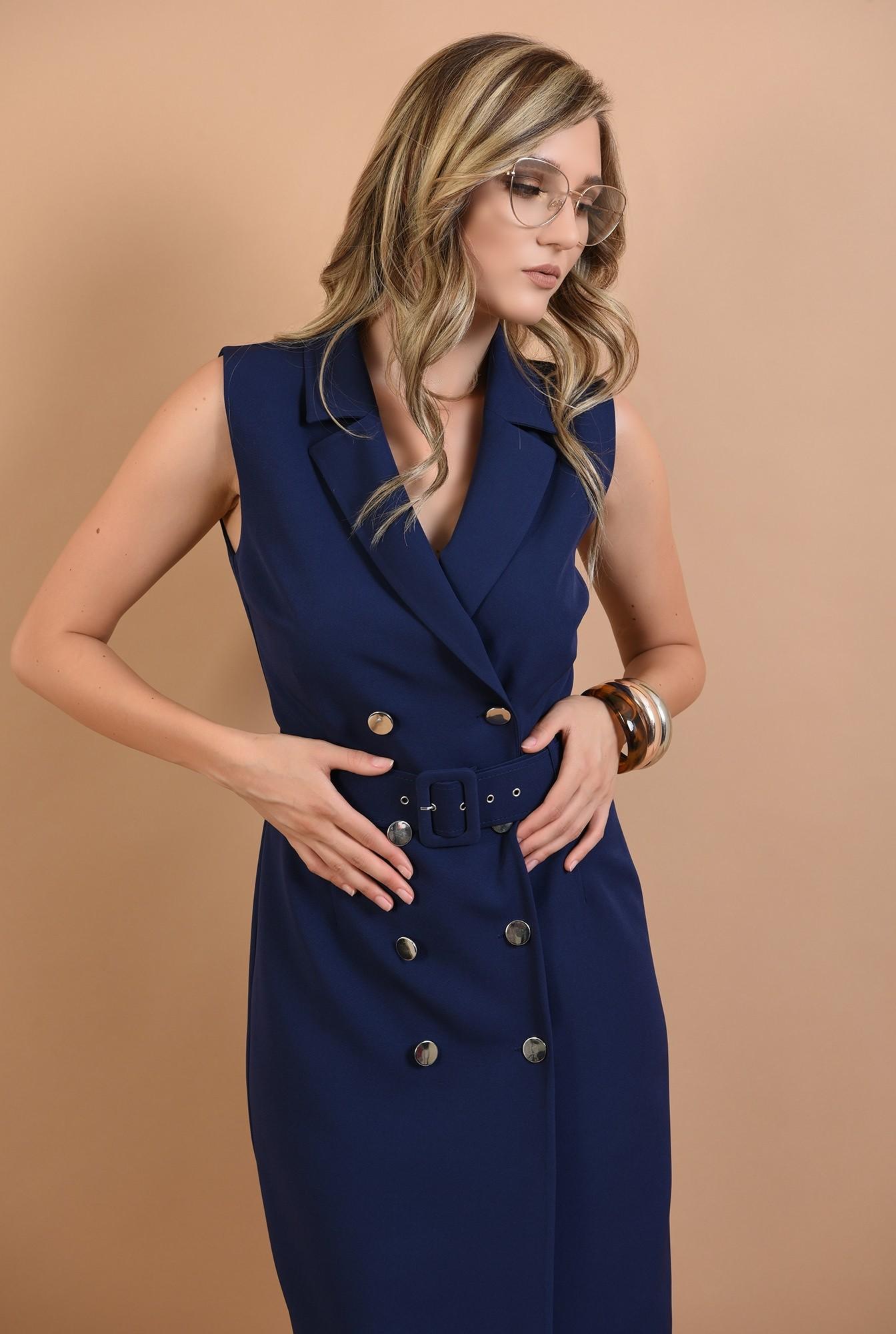 2 - 360 - rochie conica, bleumarin, cu nasturi, stil sacou, Poema