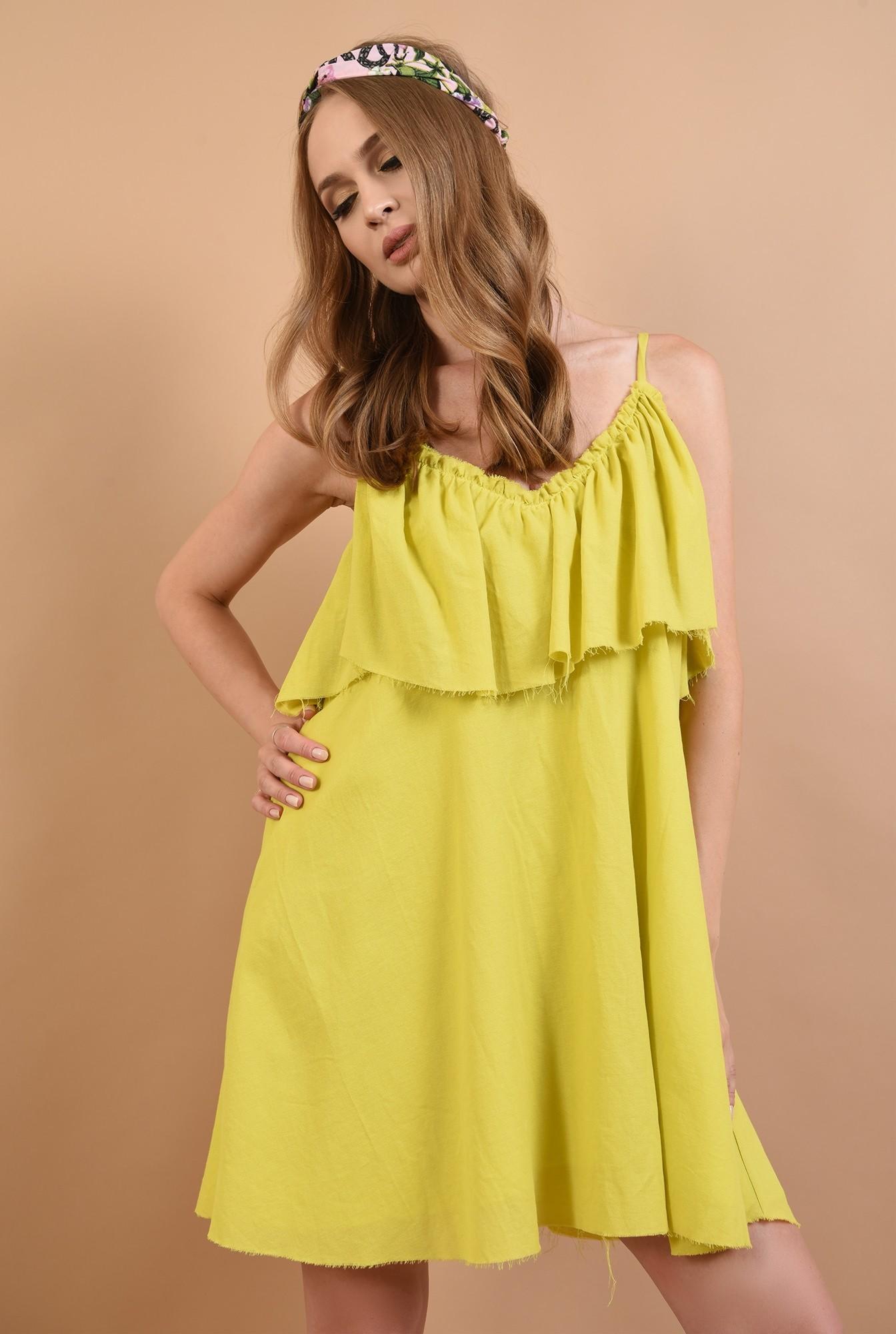 2 - 360 - rochie lime,de vara, cu volan, Poema