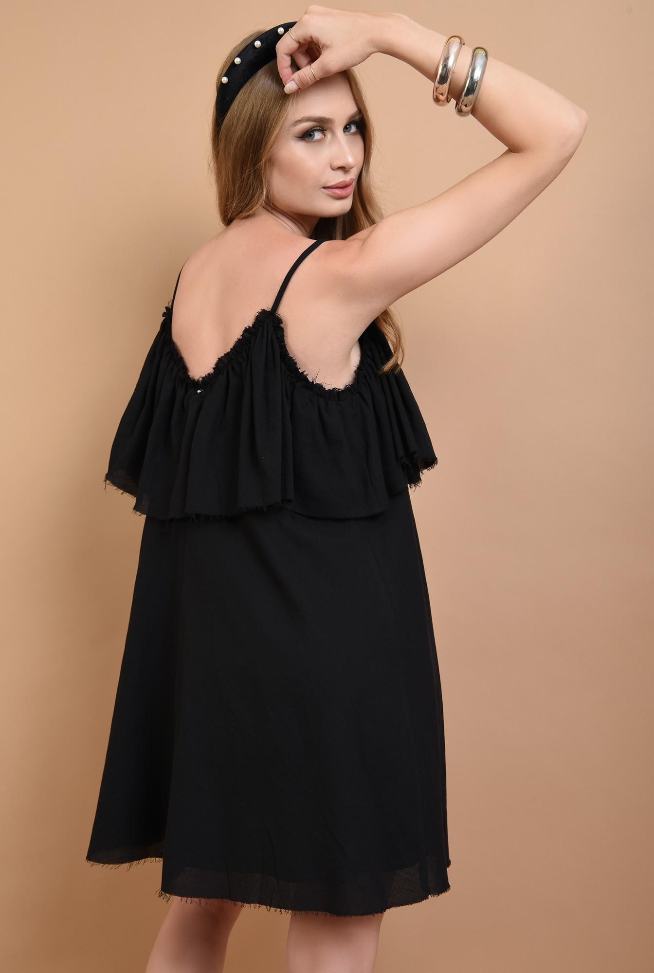 1 - 360 - rochie neagra, cu volan, de vara, Poema