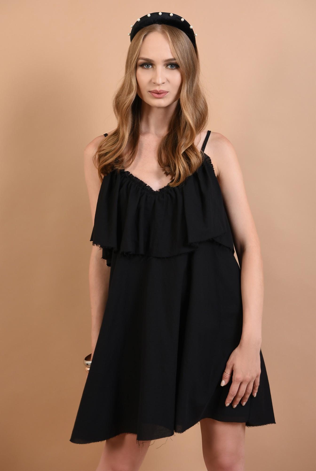 2 - 360 - rochie neagra, cu volan, de vara, Poema