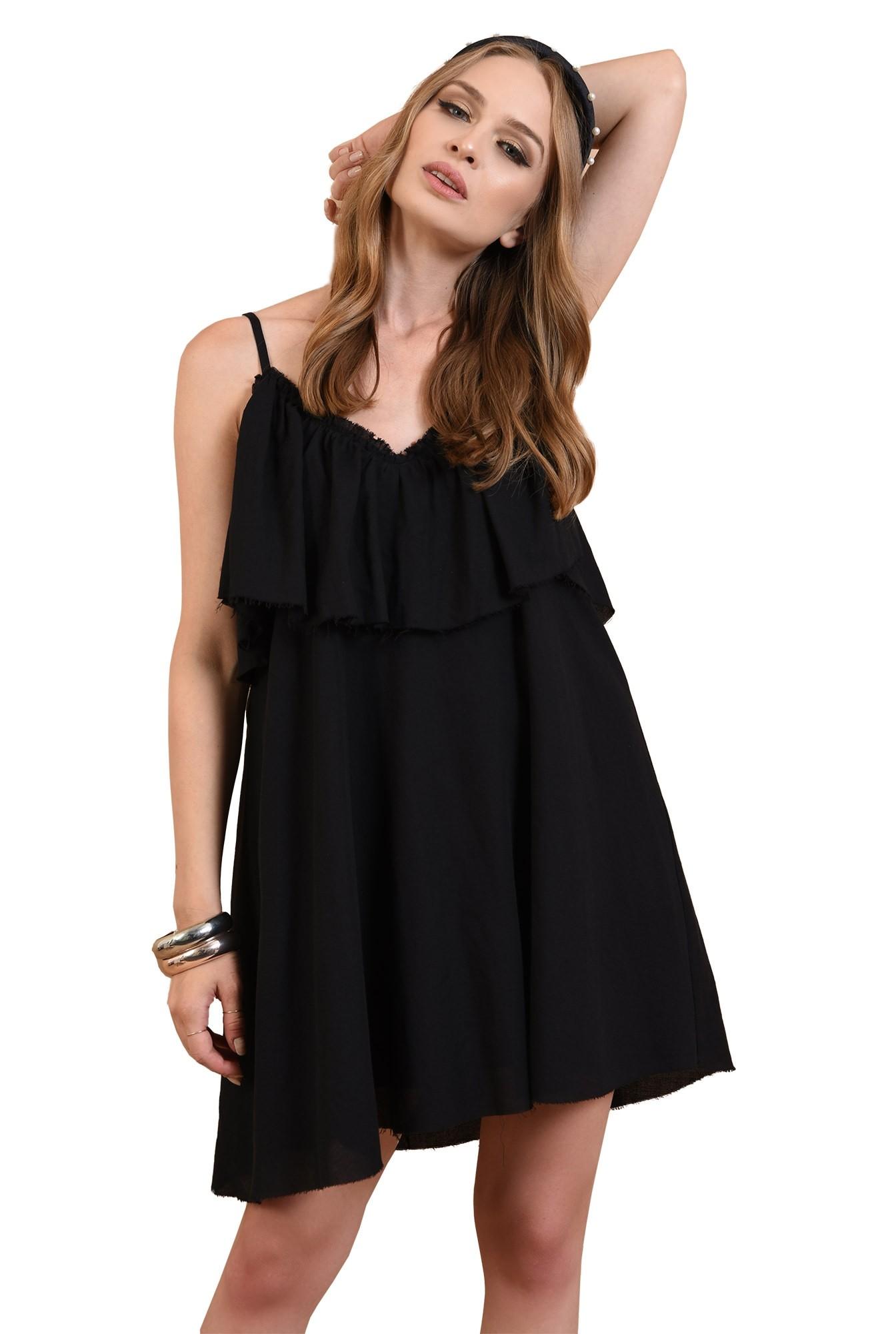 3 - 360 - rochie neagra, cu volan, de vara, Poema