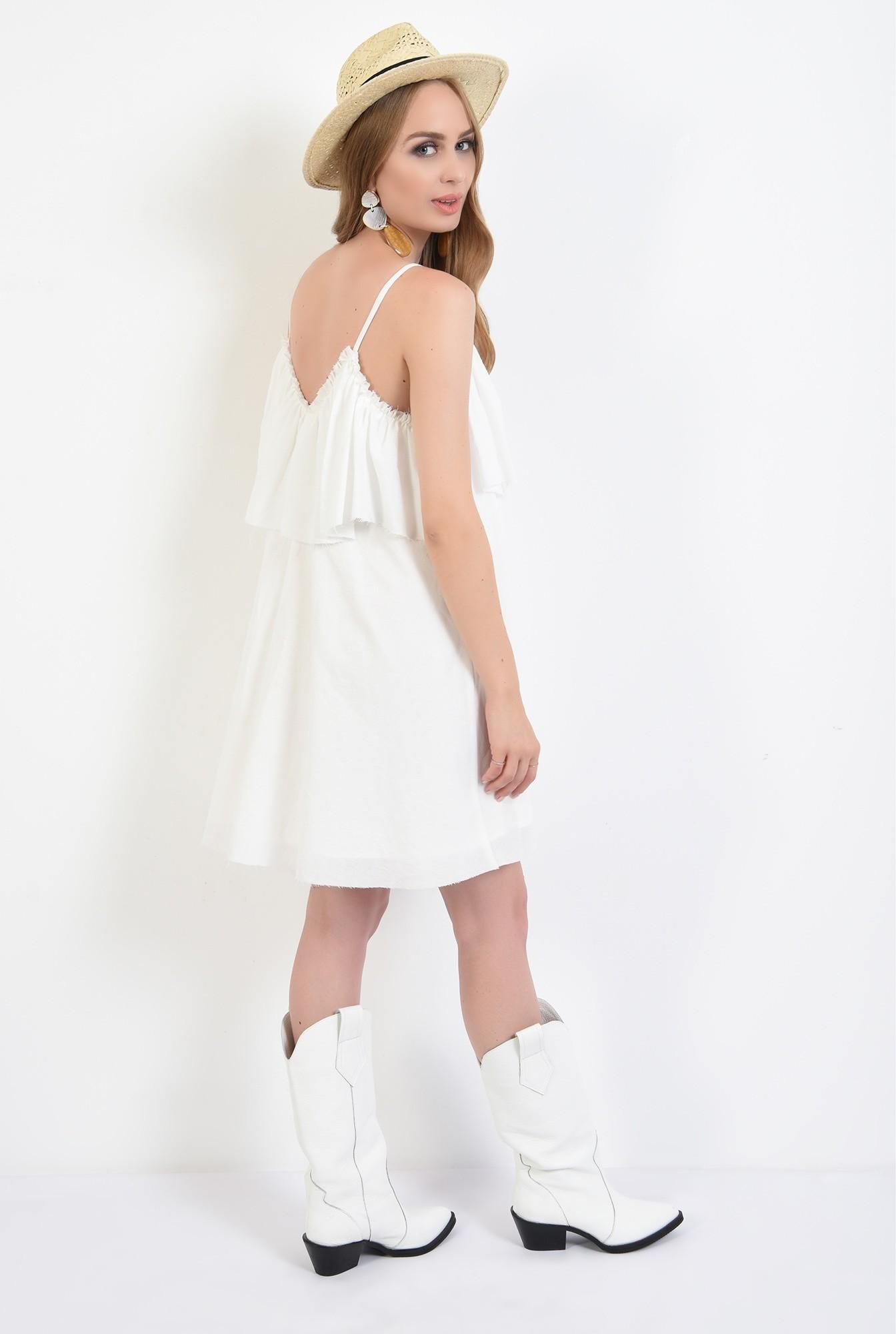 1 - 360 - rochie alba, de vara, cu volan, Poema