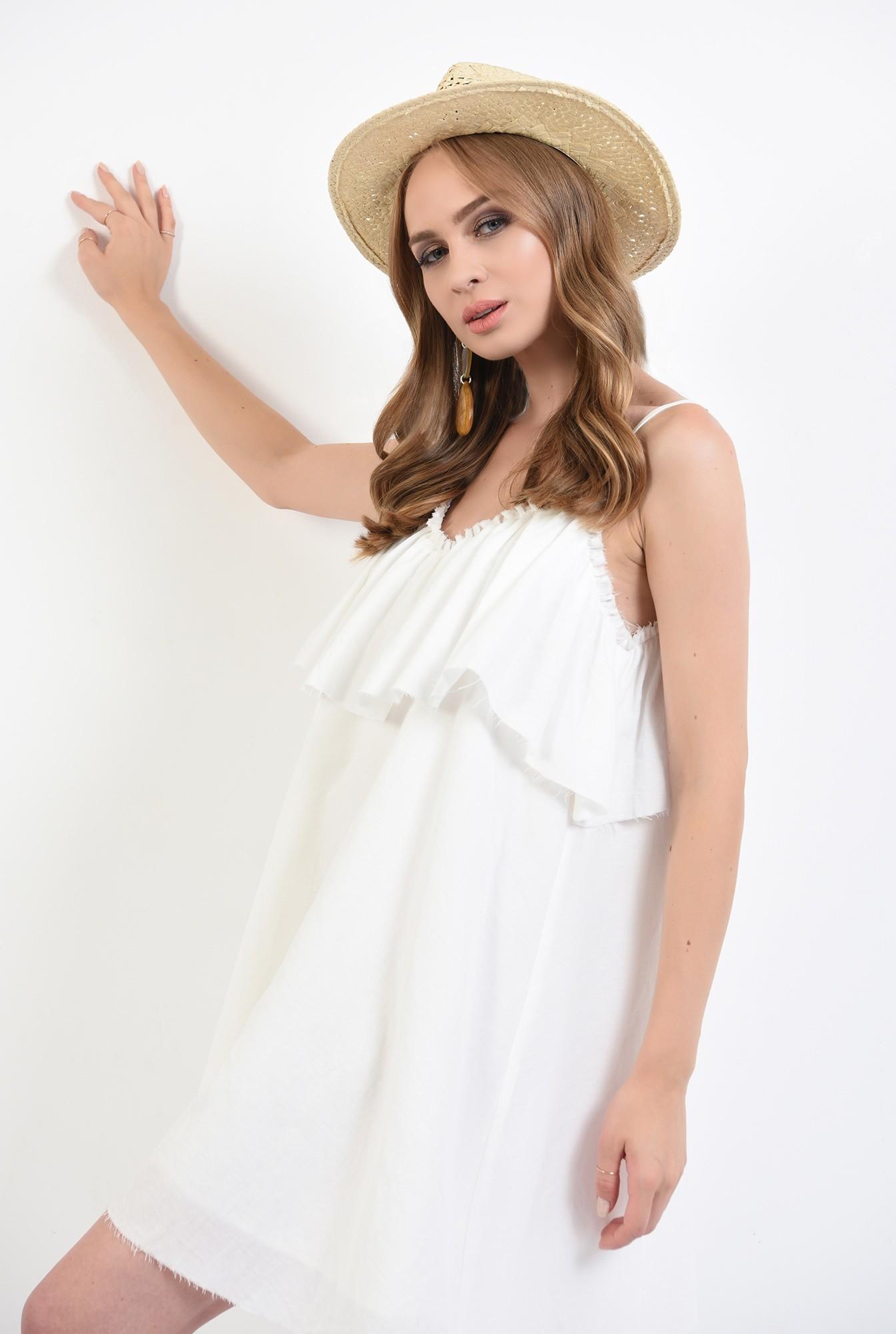 2 - 360 - rochie alba, de vara, cu volan, Poema
