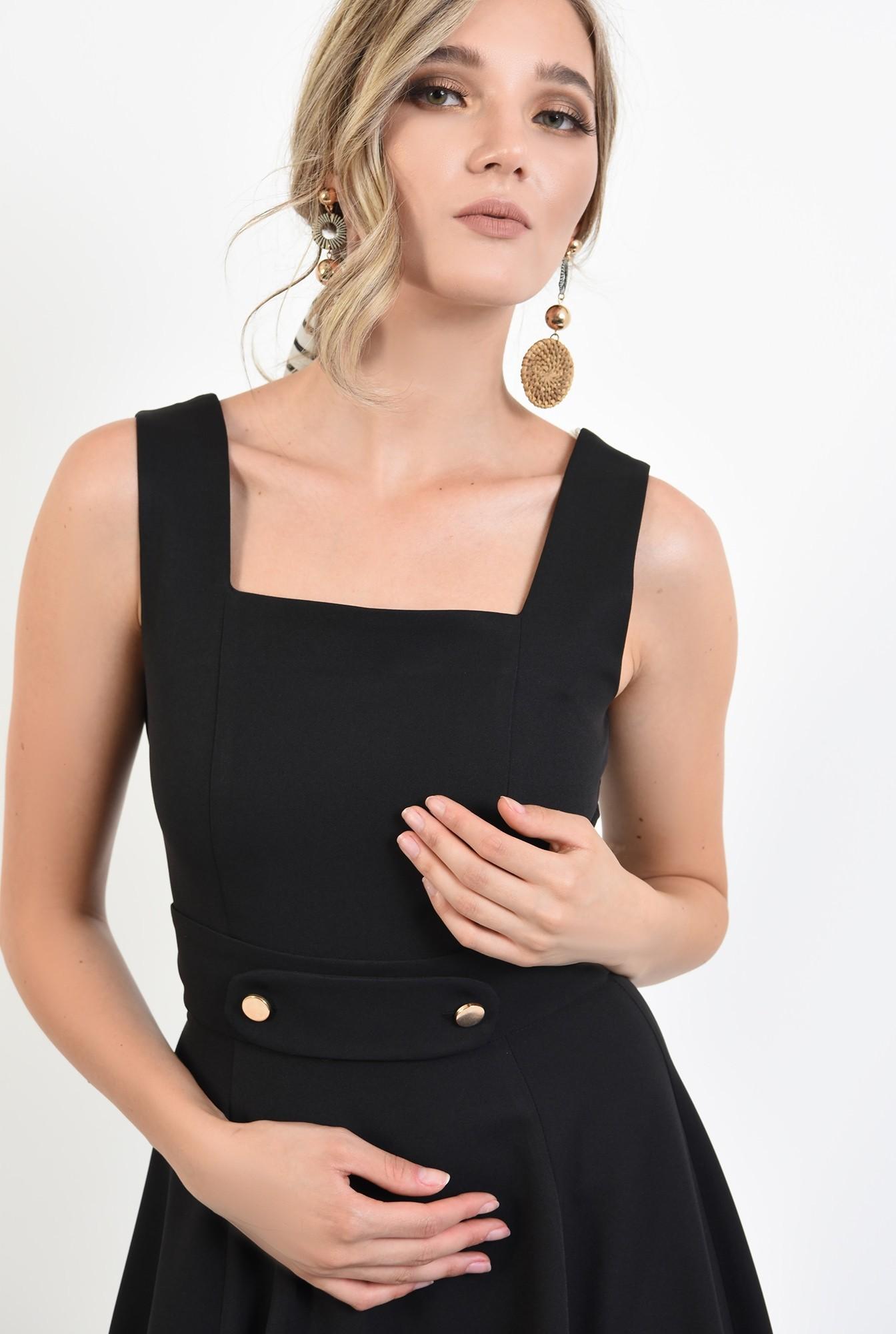 2 - 360 - rochie neagra, cu detaliu la talie, evazata, Poema
