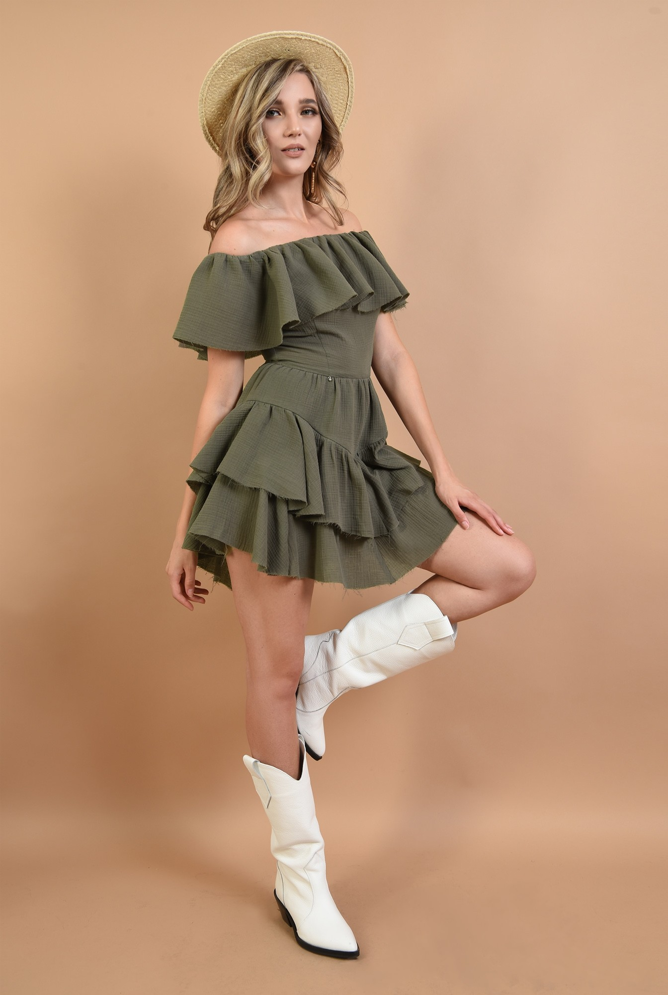0 - 360 - rochie din bumbac, kaki, cu volane, Poema