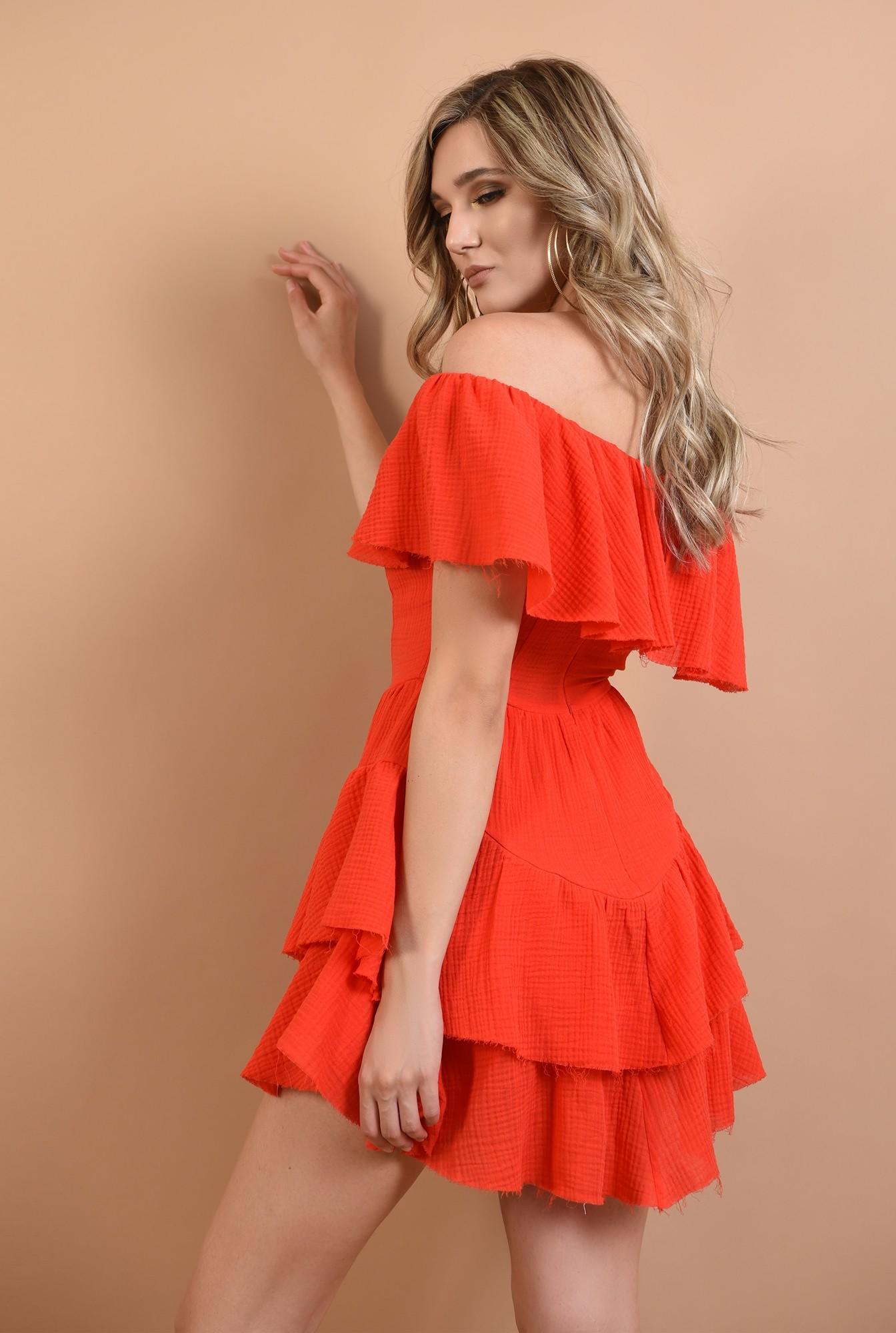 1 - rochie din bumbac, cu volane, rosie, Poema