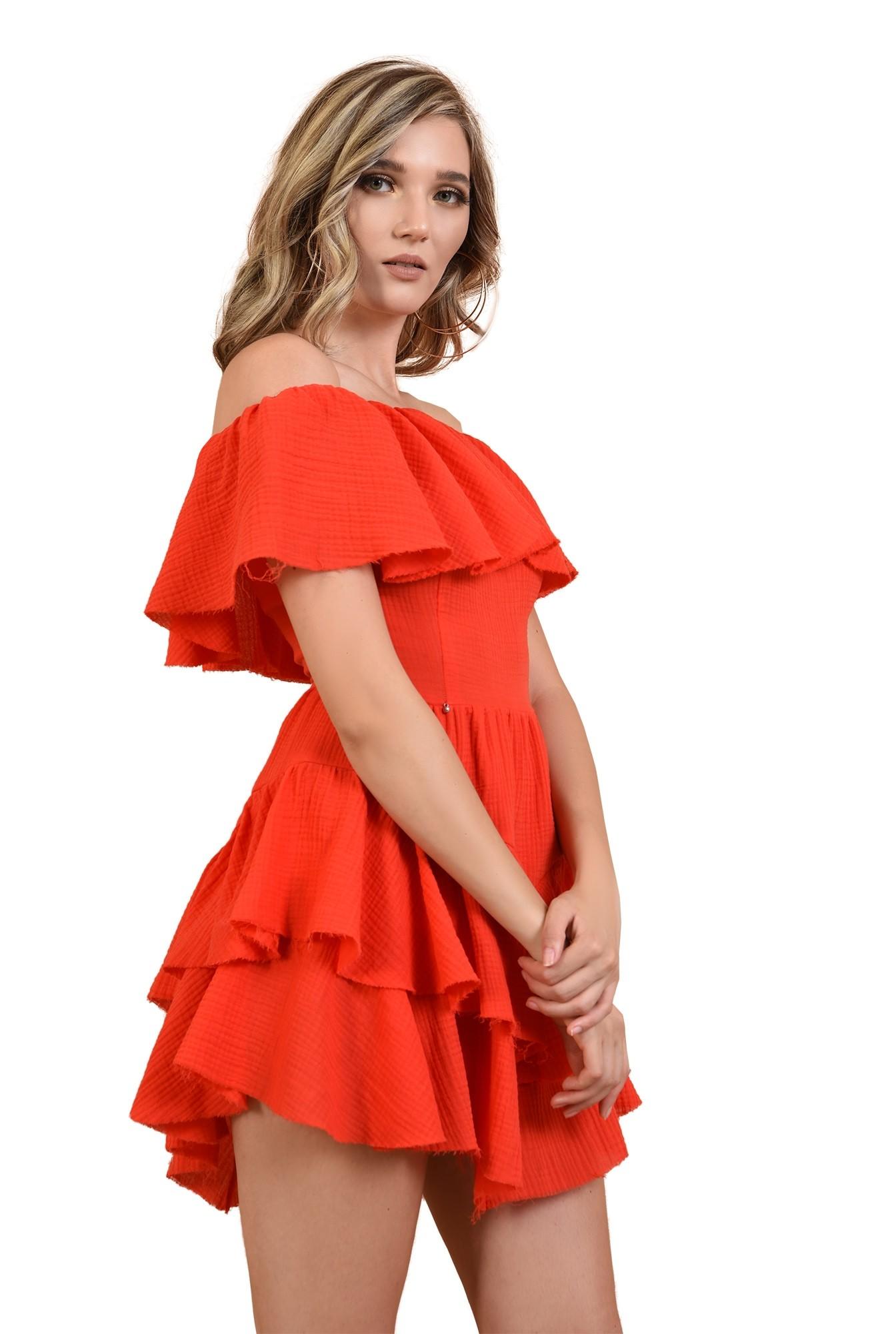 3 - rochie din bumbac, cu volane, rosie, Poema