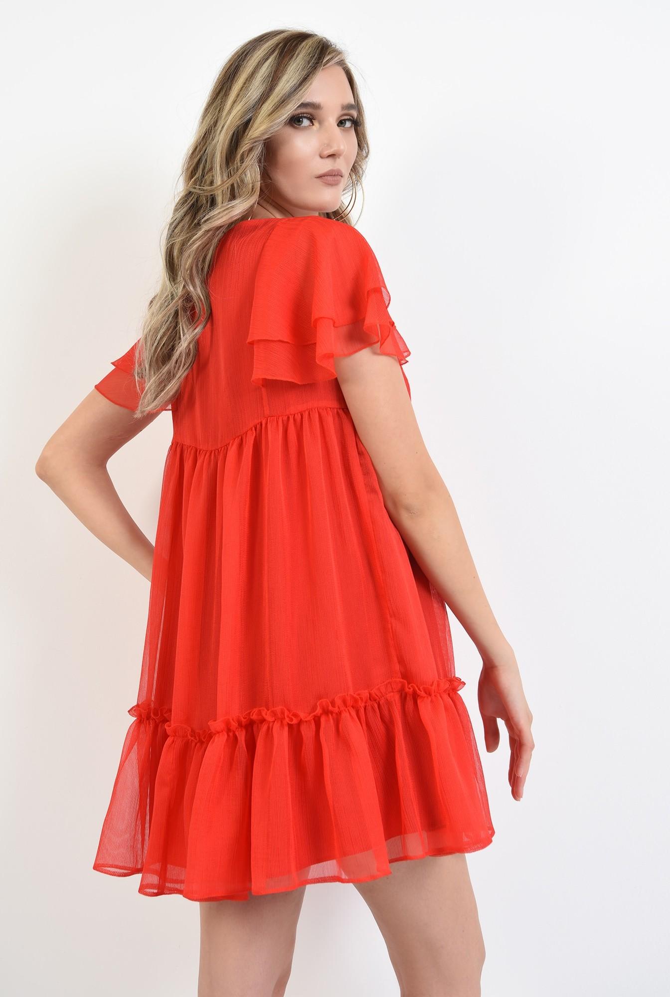 2 - 360 - rochie scurta, de vara, rosie, cu volane, Poema