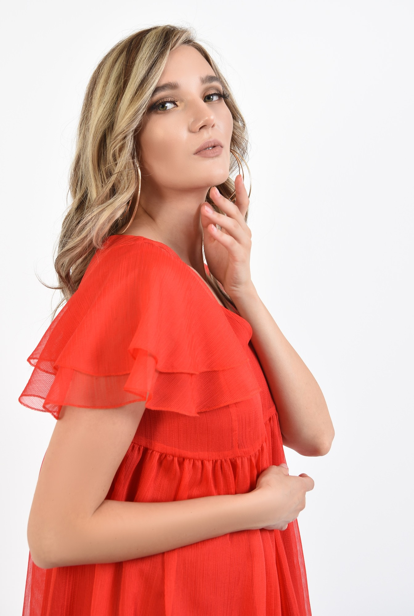 3 - 360 - rochie scurta, de vara, rosie, cu volane, Poema