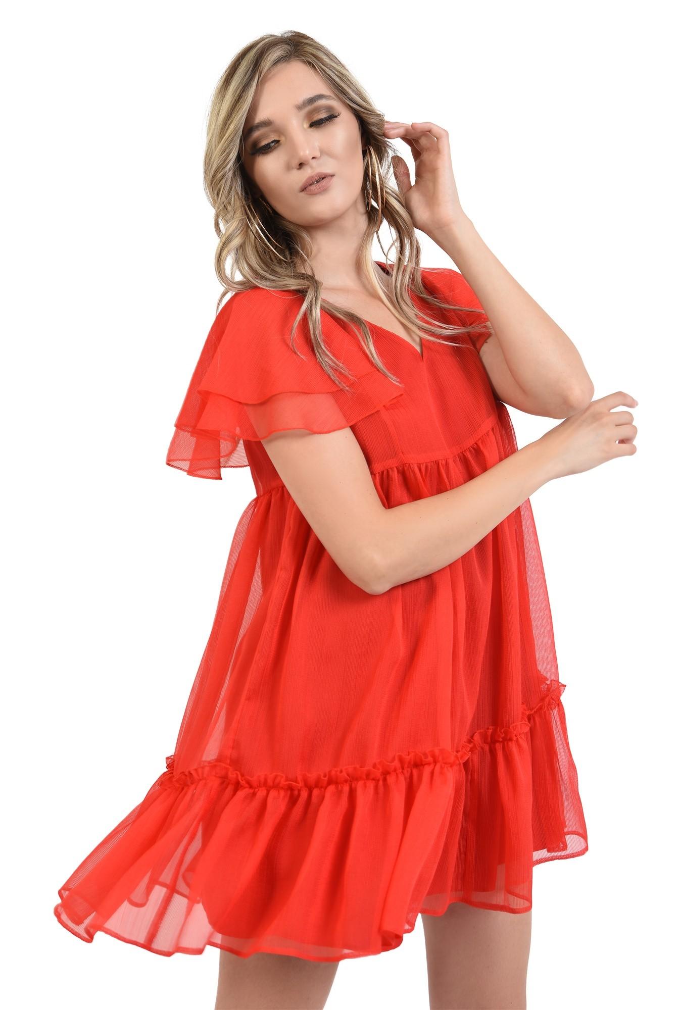 1 - 360 - rochie scurta, de vara, rosie, cu volane, Poema