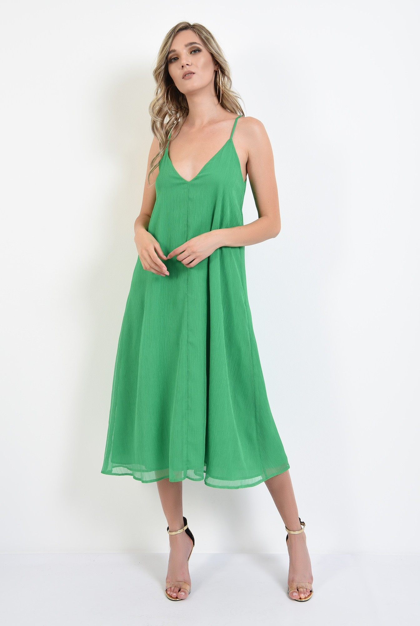 0 - 360 - rochie midi, tip furou, verde, Poema