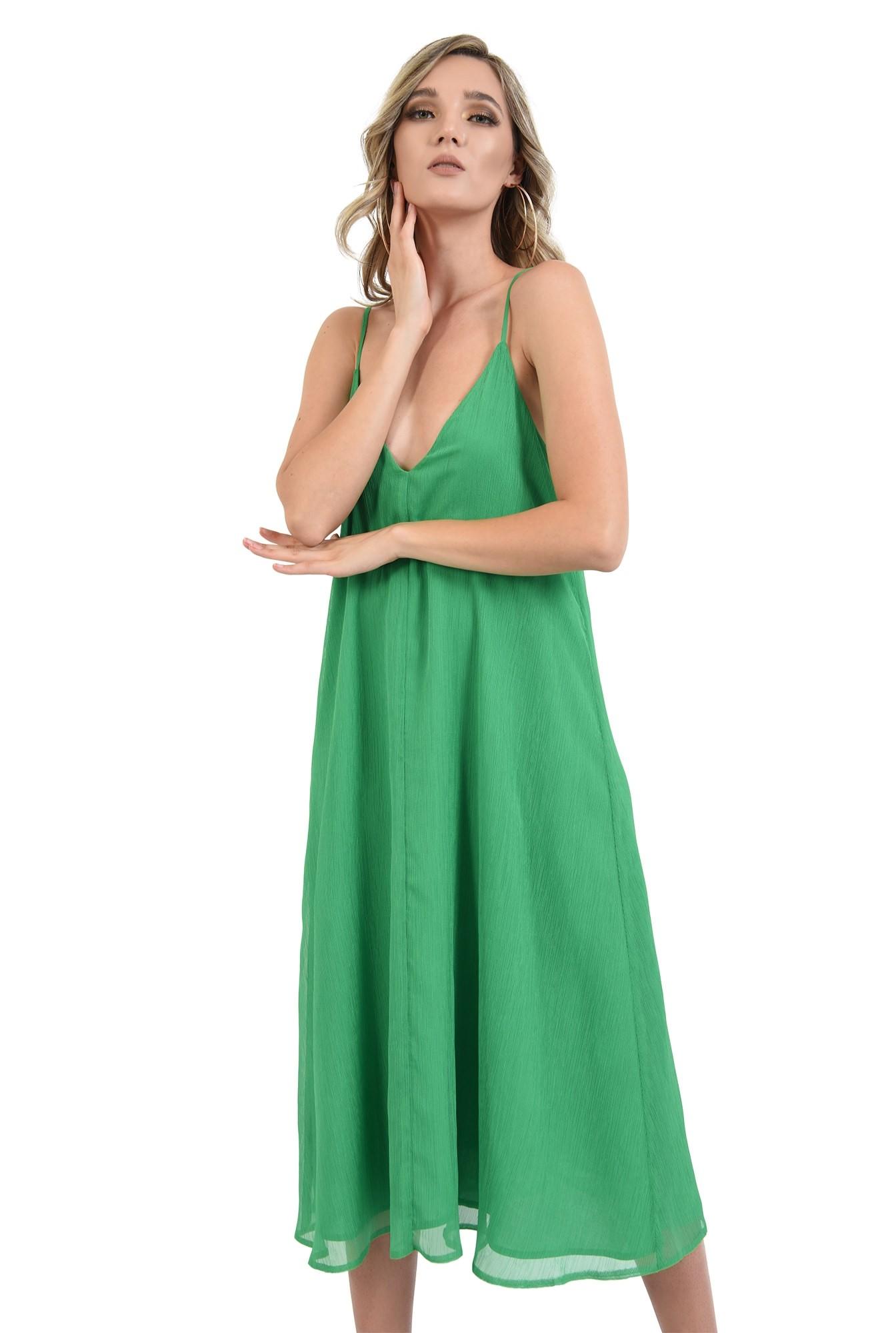 3 - 360 - rochie midi, tip furou, verde, Poema