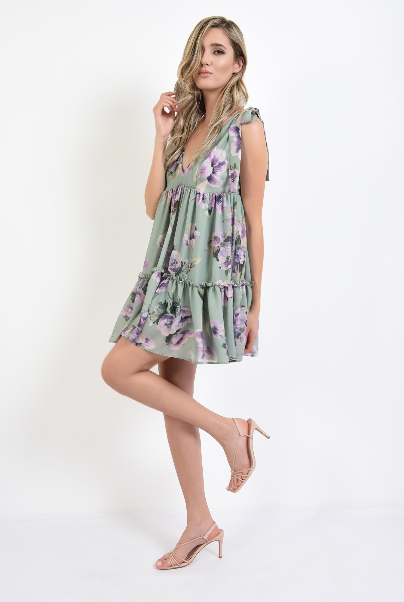 0 - 360 - rochie mini, larga, cu flori, Poema