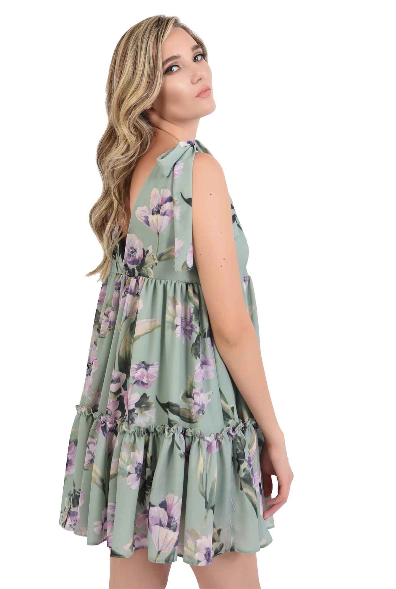 1 - 360 - rochie mini, larga, cu flori, Poema