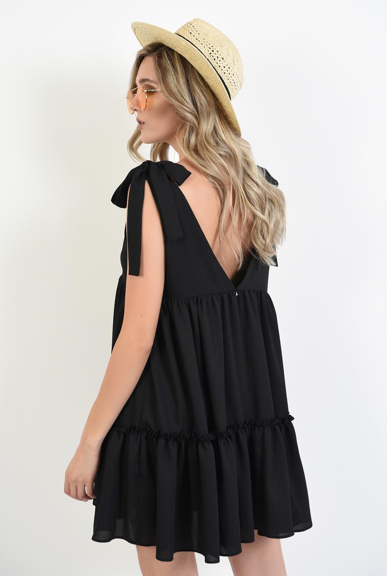 1 - 360 - rochie scurta, larga, neagra, cu funde, Poema
