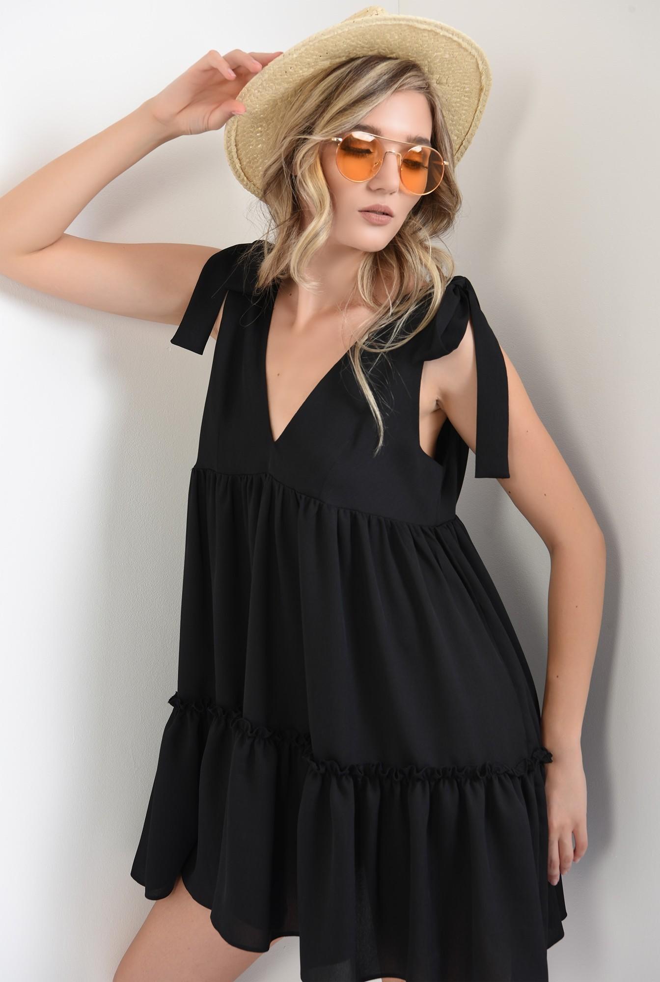 0 - 360 - rochie scurta, larga, neagra, cu funde, Poema