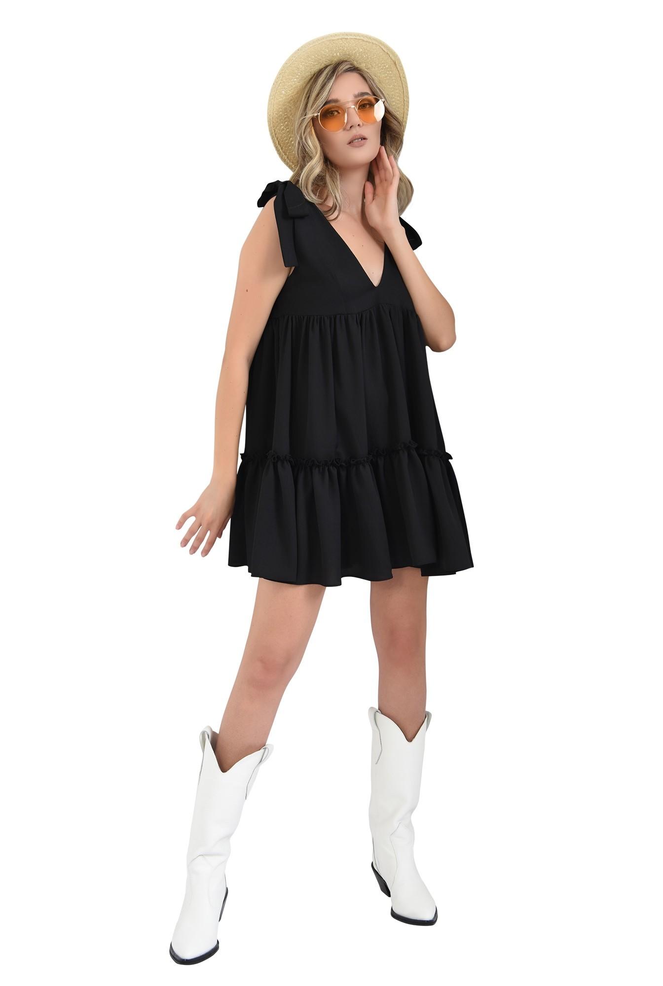 3 - 360 - rochie scurta, larga, neagra, cu funde, Poema