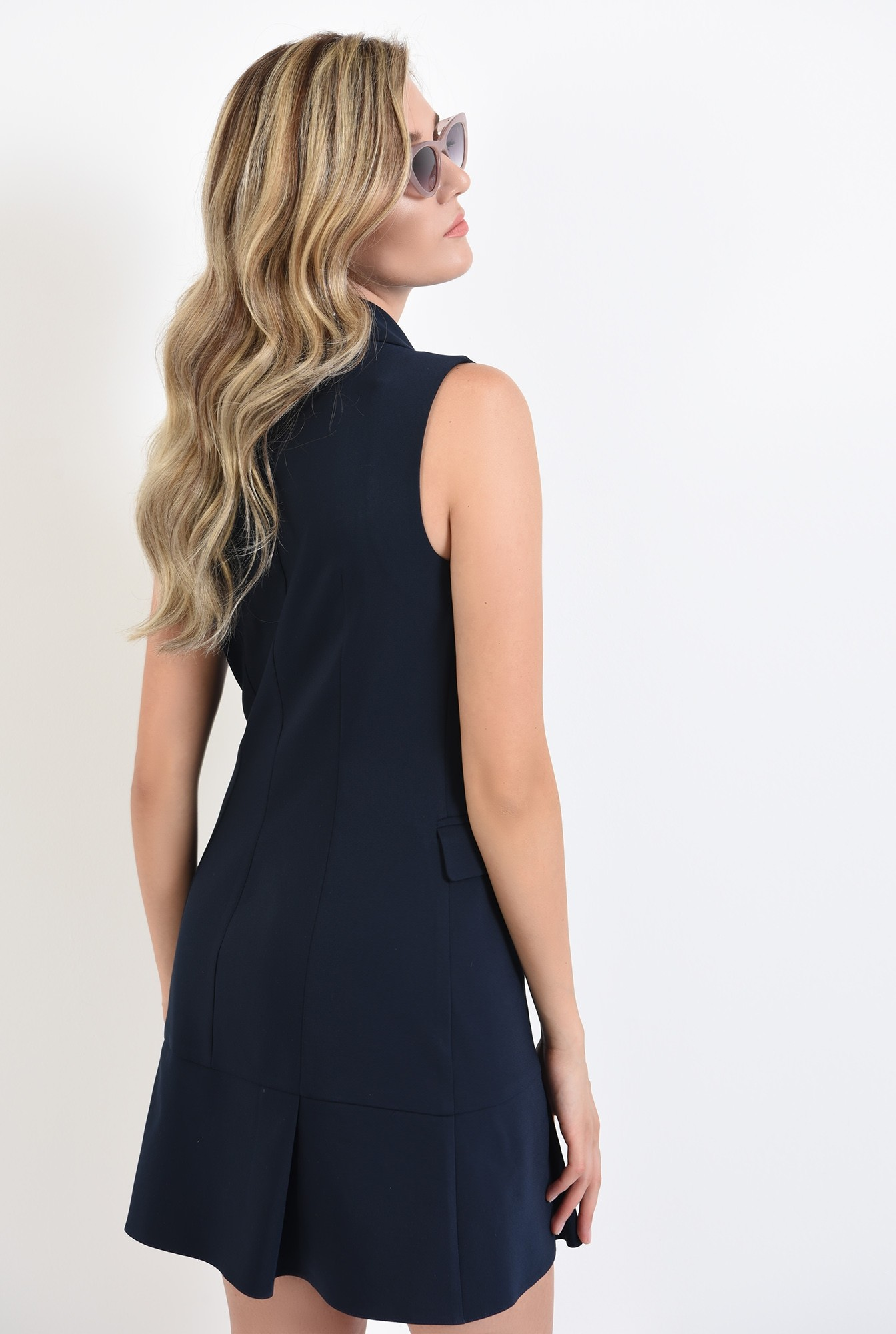 1 - 360 - rochie bleumarin, scurta, tip sacou, Poema