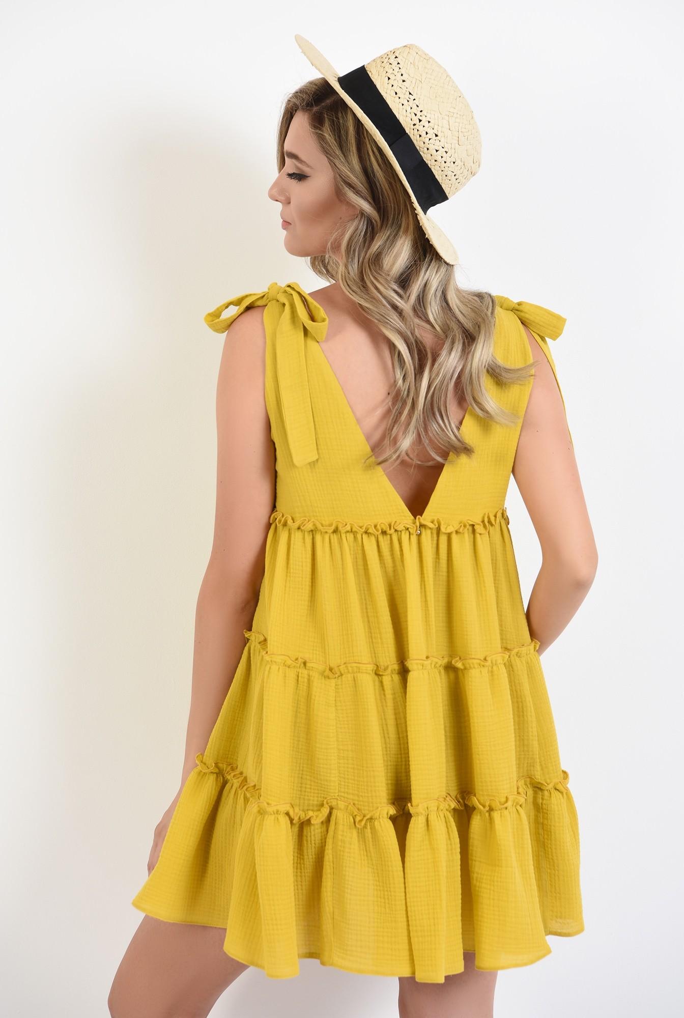 1 - 360 - rochie mini, de vara, mustar, Poema