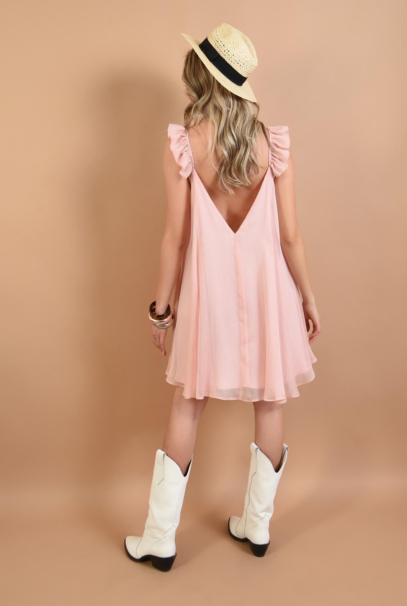 1 - rochie larga, roz, cu volan, Poema