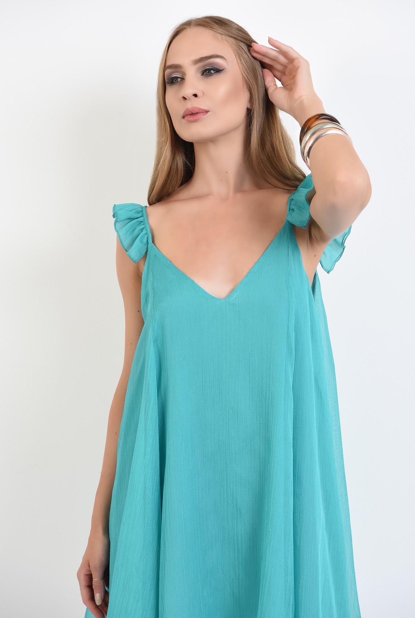 2 - rochie mini, de vara, turcoaz, cu bretele, cu anchior