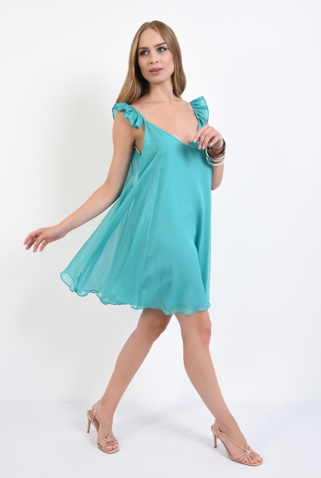 3 - rochie mini, de vara, turcoaz, cu bretele, cu anchior