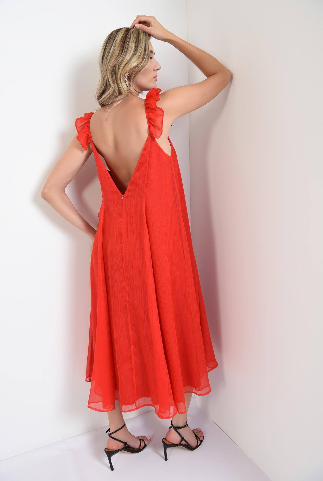 1 - 360 - rochie rosie,midi, tip furou, Poema