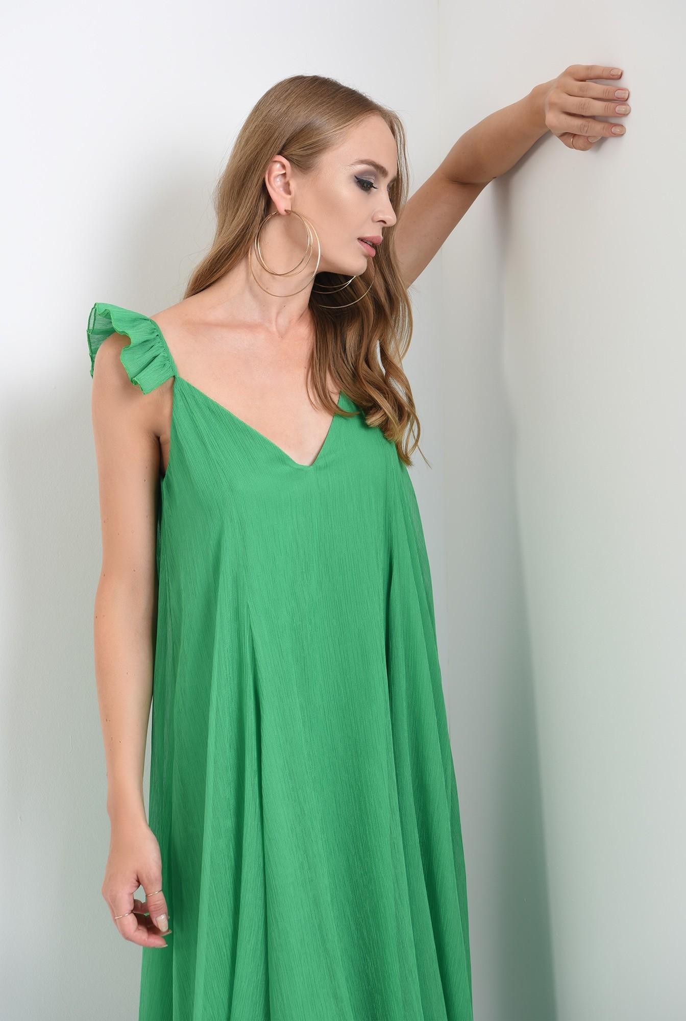 2 - rochie lunga, cu anchior, bretele volan, evazata, verde, Poema