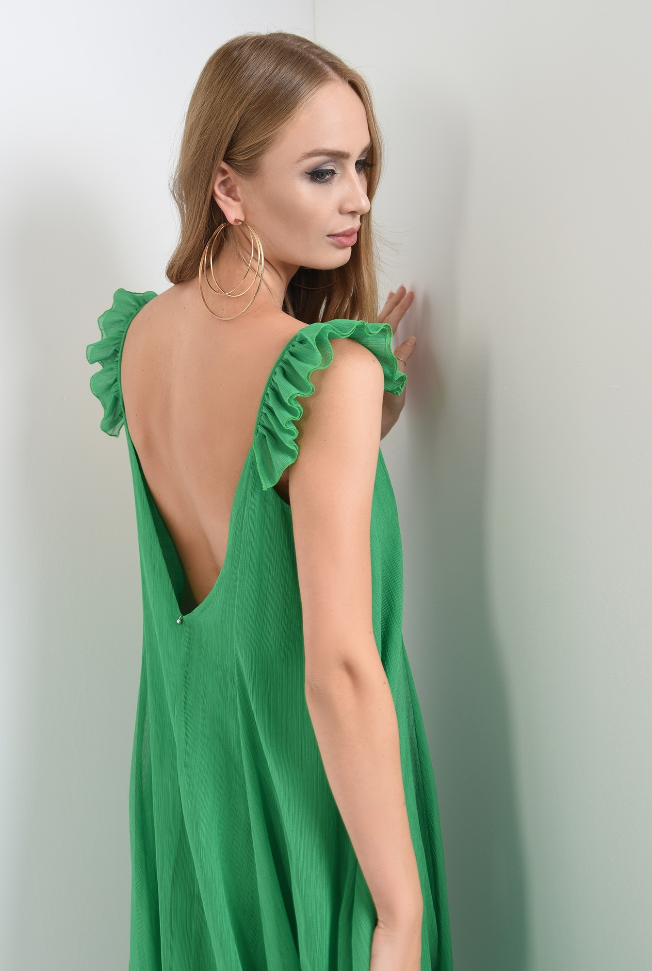 1 - rochie lunga, cu anchior, bretele volan, evazata, verde, Poema