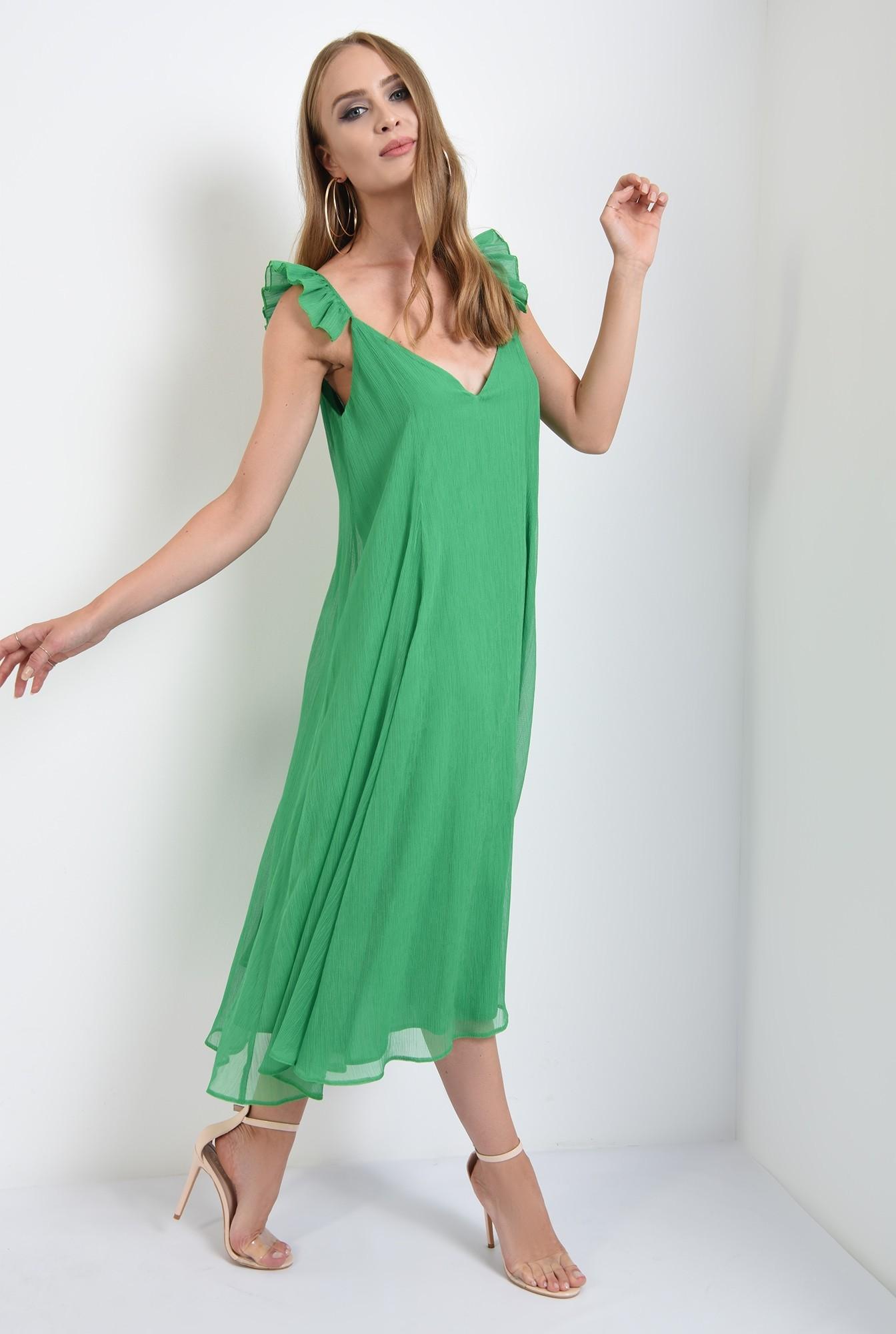 3 - rochie lunga, cu anchior, bretele volan, evazata, verde, Poema