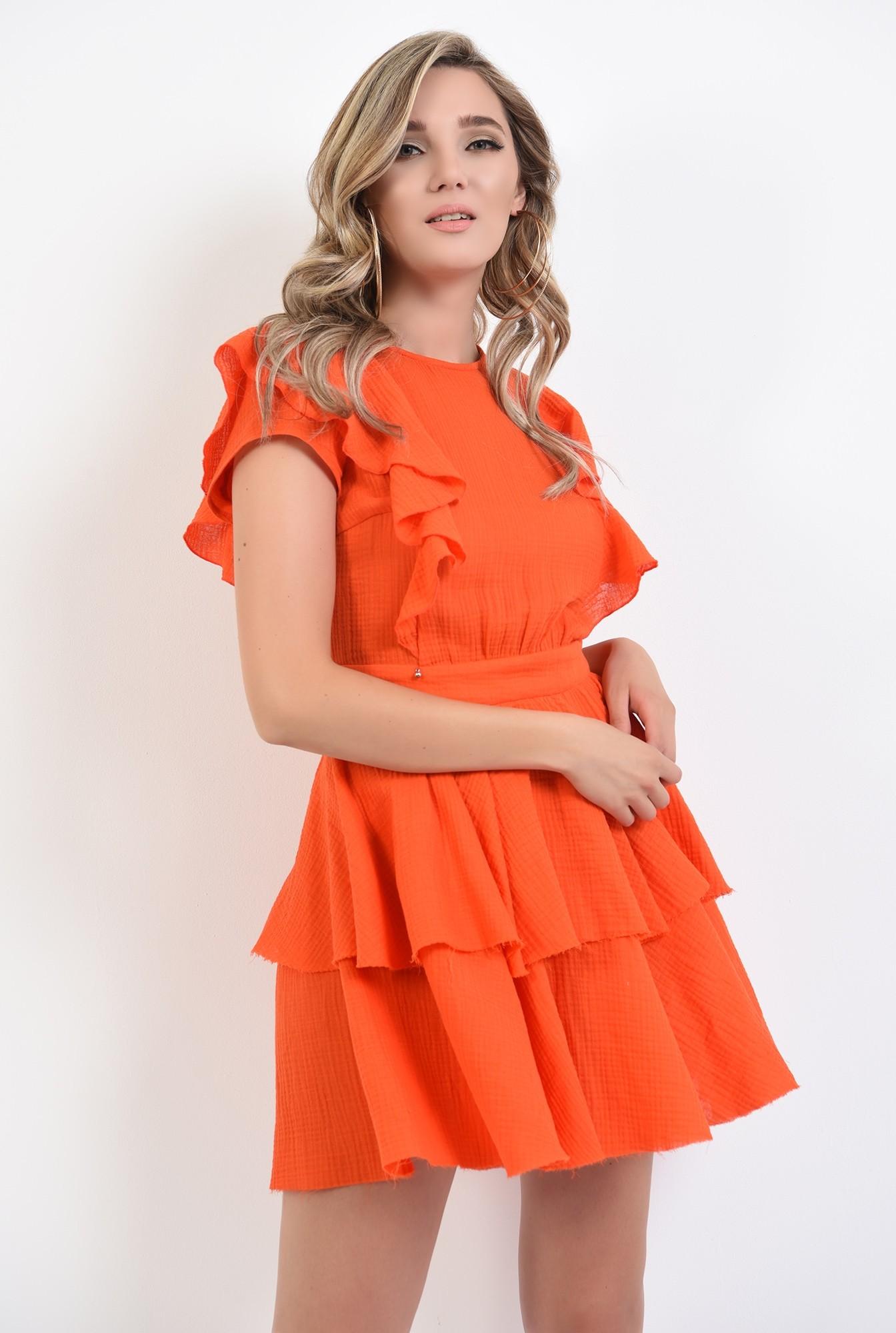 1 - 360 - rochie mini, orange, cu volane, Poema