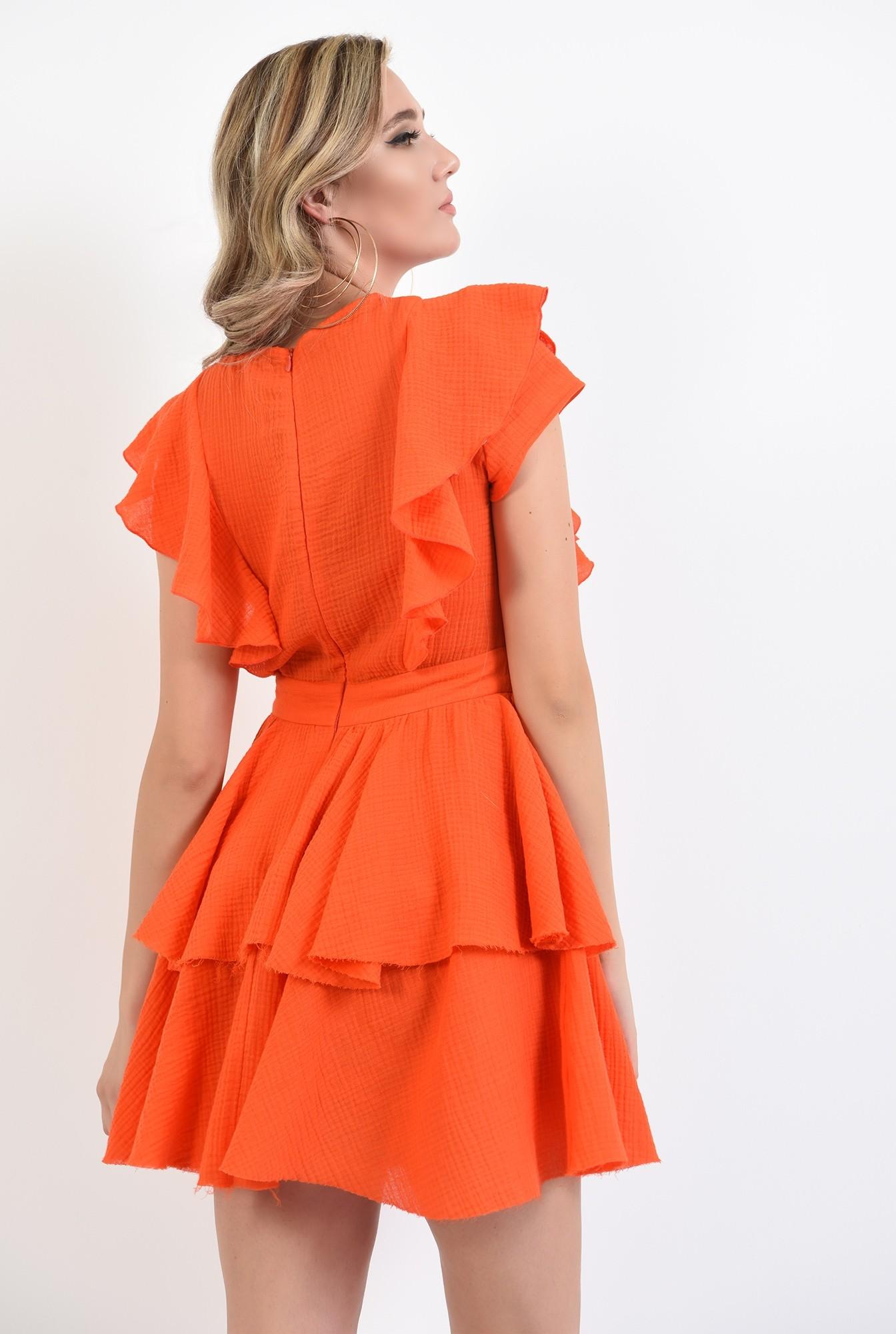 2 - 360 - rochie mini, orange, cu volane, Poema