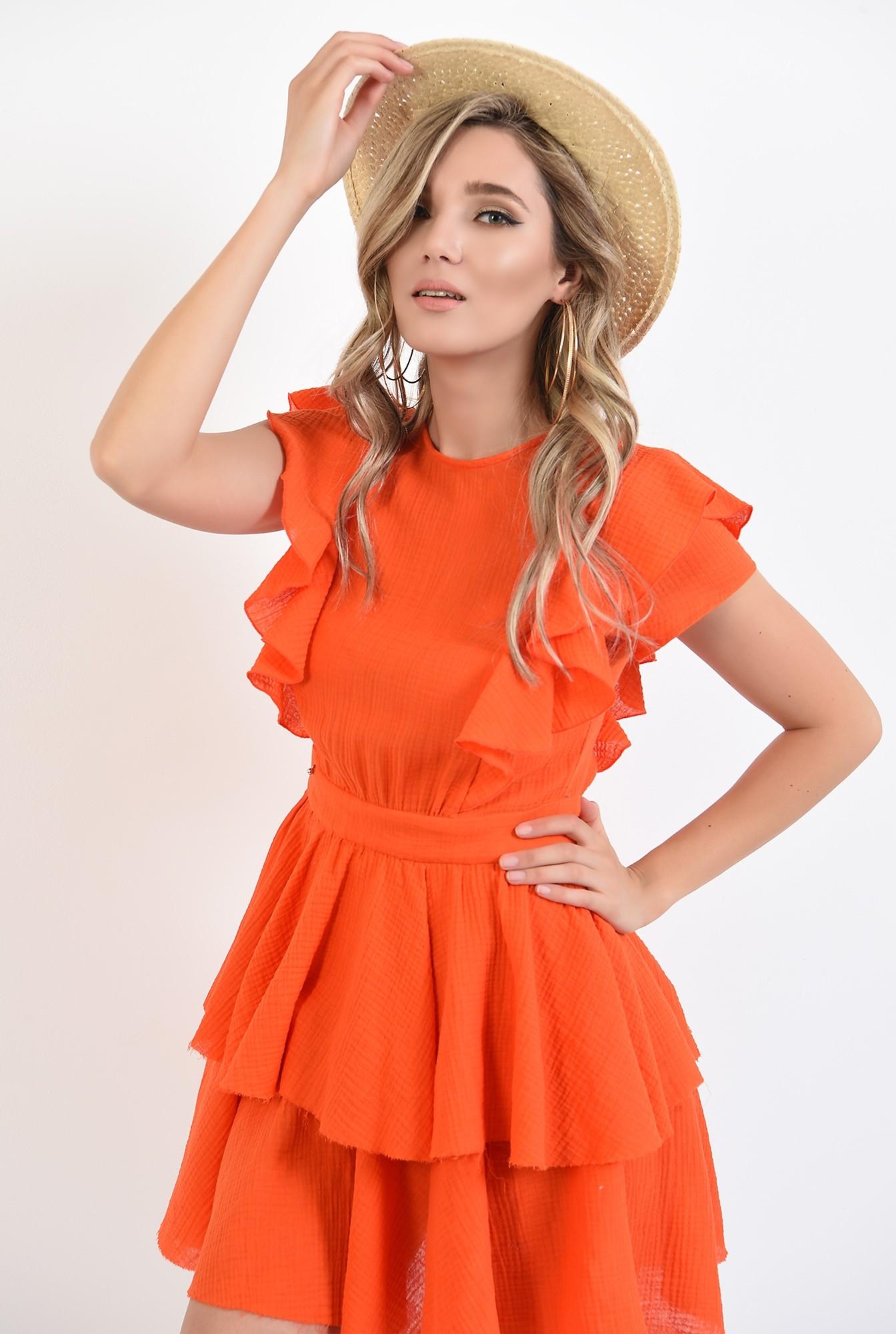 0 - 360 - rochie mini, orange, cu volane, Poema