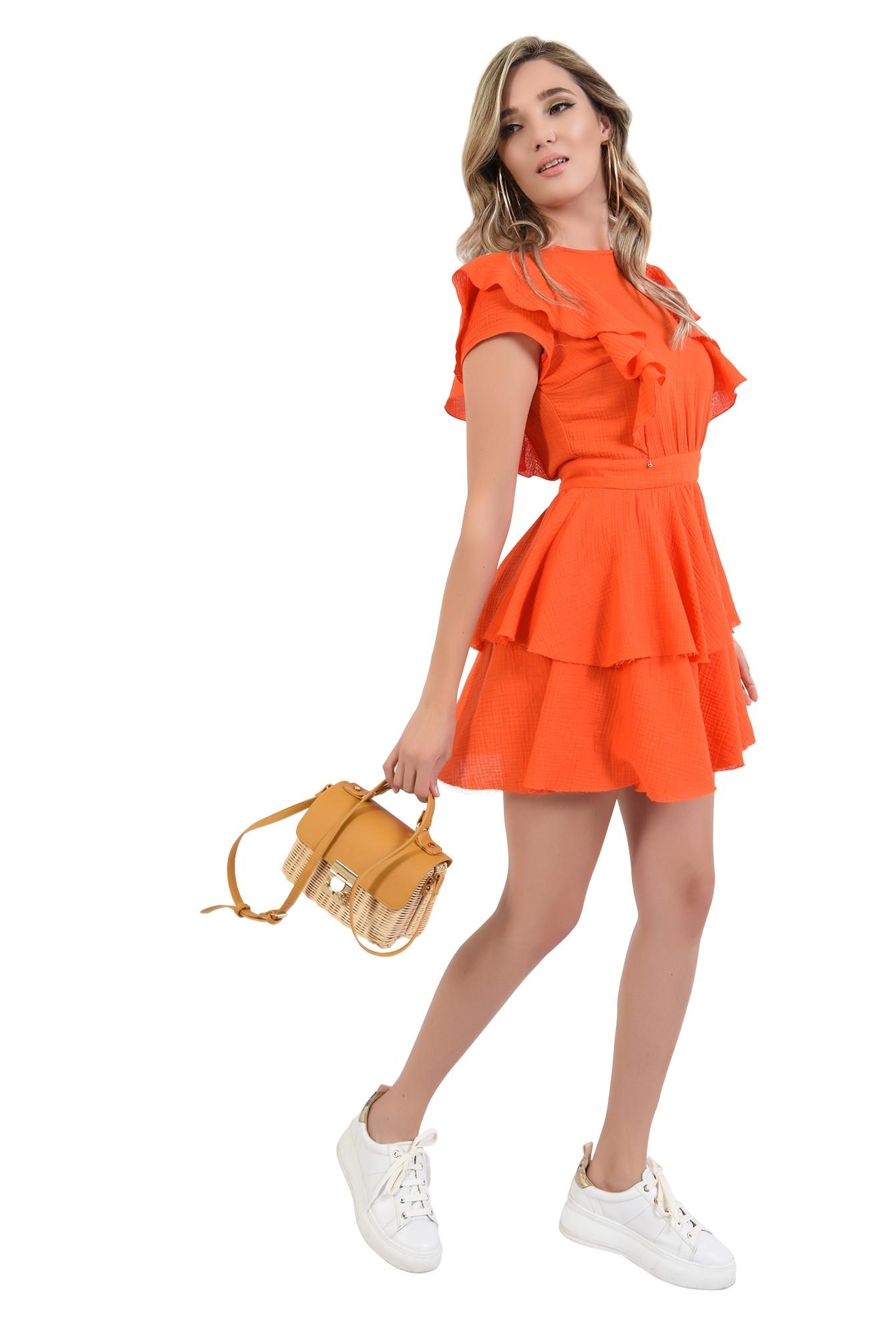 3 - 360 - rochie mini, orange, cu volane, Poema