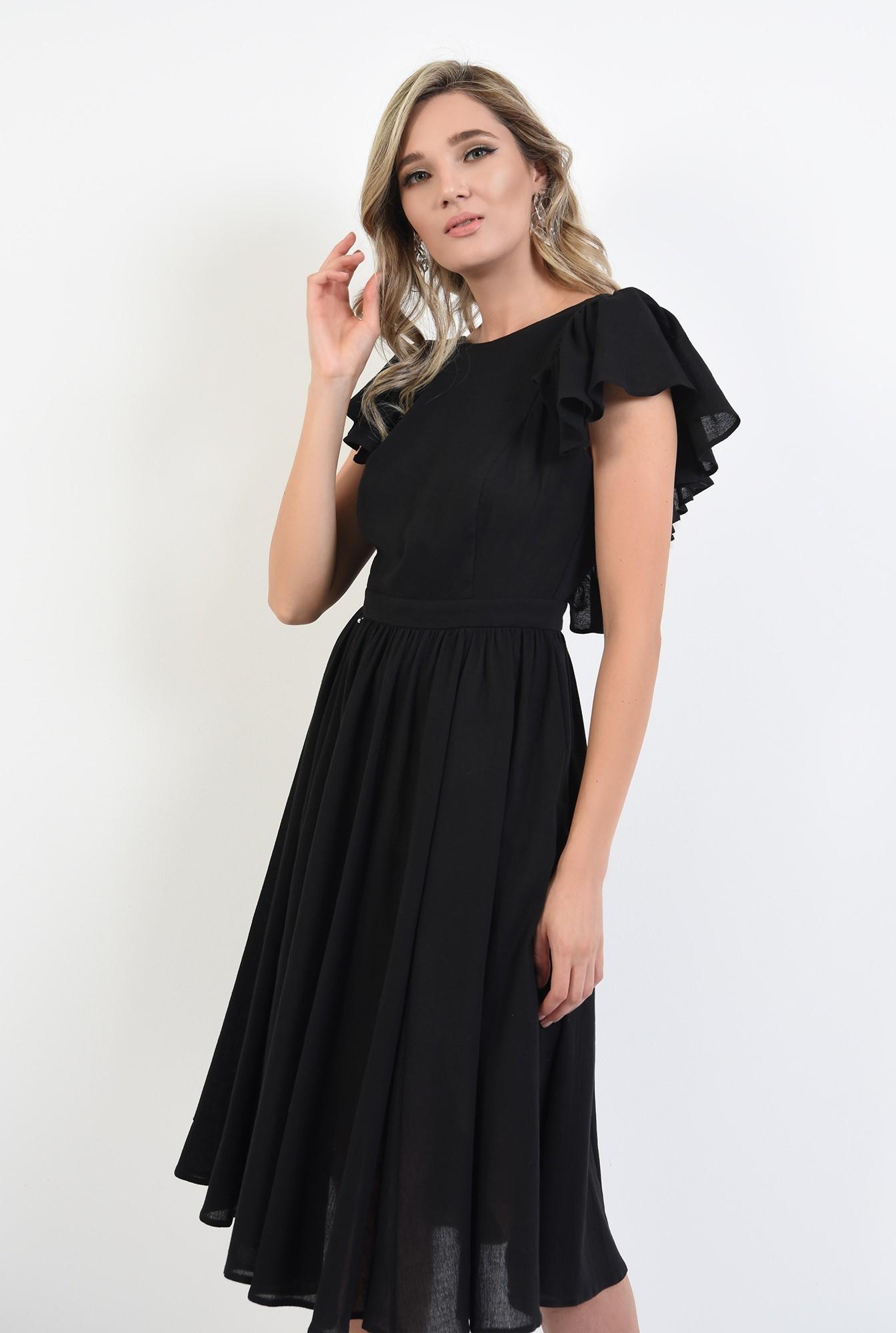 2 - 360 - rochie neagra, cu spate gol, evazata, midi, Poema