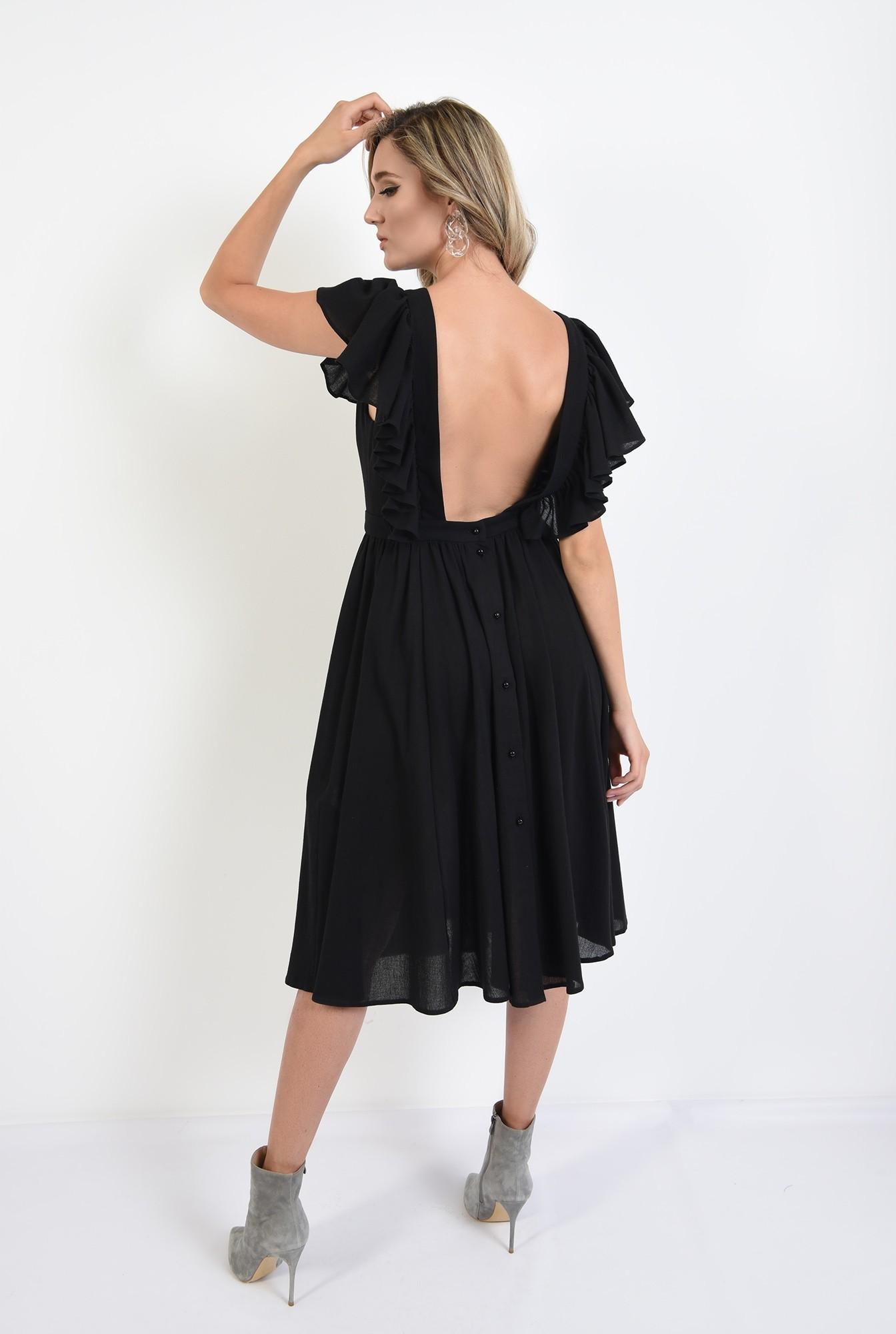 0 - 360 - rochie neagra, cu spate gol, evazata, midi, Poema