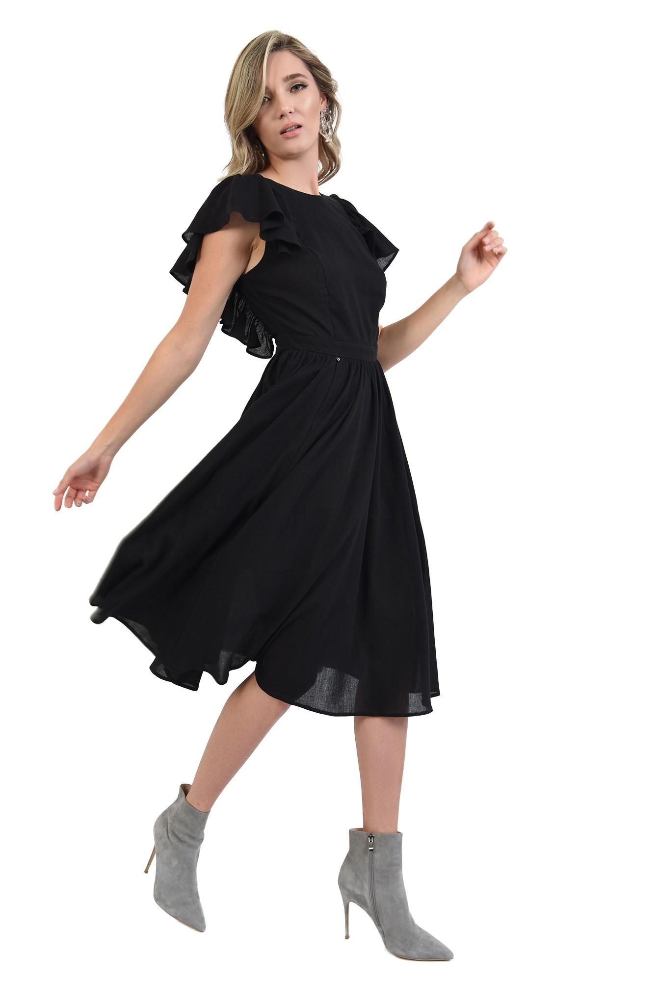 3 - 360 - rochie neagra, cu spate gol, evazata, midi, Poema